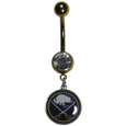 Buffalo Sabres  Navel Ring - Let the world know you're a fan with our officially licensed Buffalo Sabres  belly ring in vibrant team colors with a large, team colored crystal. The 14 gauge navel ring is 316L Surgical Stainless steel has a team dangle charm.