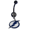 Tampa Bay Lightning  Navel Ring - Let the world know you're a fan with our officially licensed Tampa Bay Lightning  belly ring in vibrant team colors with a large, team colored crystal. The 14 gauge navel ring is 316L Surgical Stainless steel has a team dangle charm.