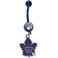 Toronto Maple Leafs  Navel Ring - Let the world know you're a fan with our officially licensed Toronto Maple Leafs  belly ring in vibrant team colors with a large, team colored crystal. The 14 gauge navel ring is 316L Surgical Stainless steel has a team dangle charm.