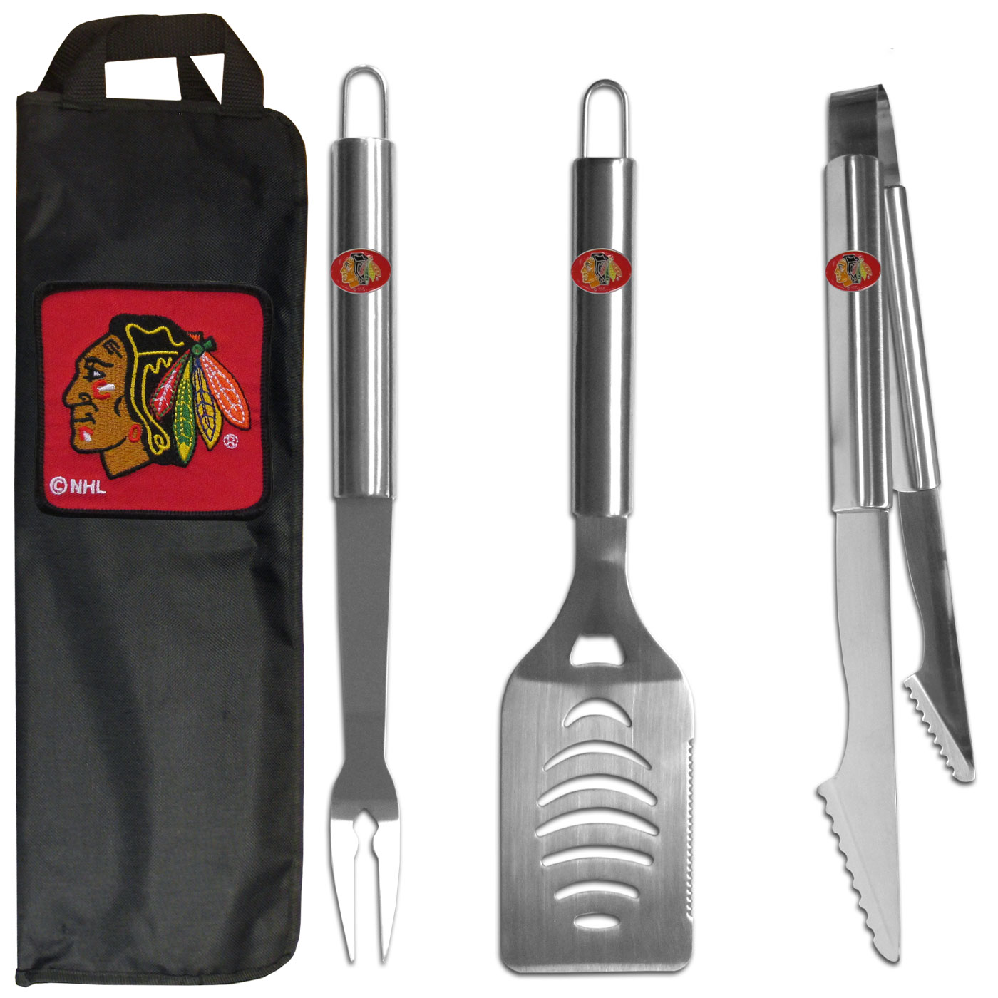 Chicago Blackhawks® 3 pc Stainless Steel BBQ Set with Bag - Our Chicago Blackhawks® stainless steel 3 pc BBQ tool set includes a large spatula with built in bottle opener, heavy duty tongs, and large fork. All the tools feature a team logo on the handle. The set comes with a durable canvas bag that has a chrome accented team logo.