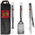 Chicago Blackhawks® 3 pc Stainless Steel BBQ Set with Bag