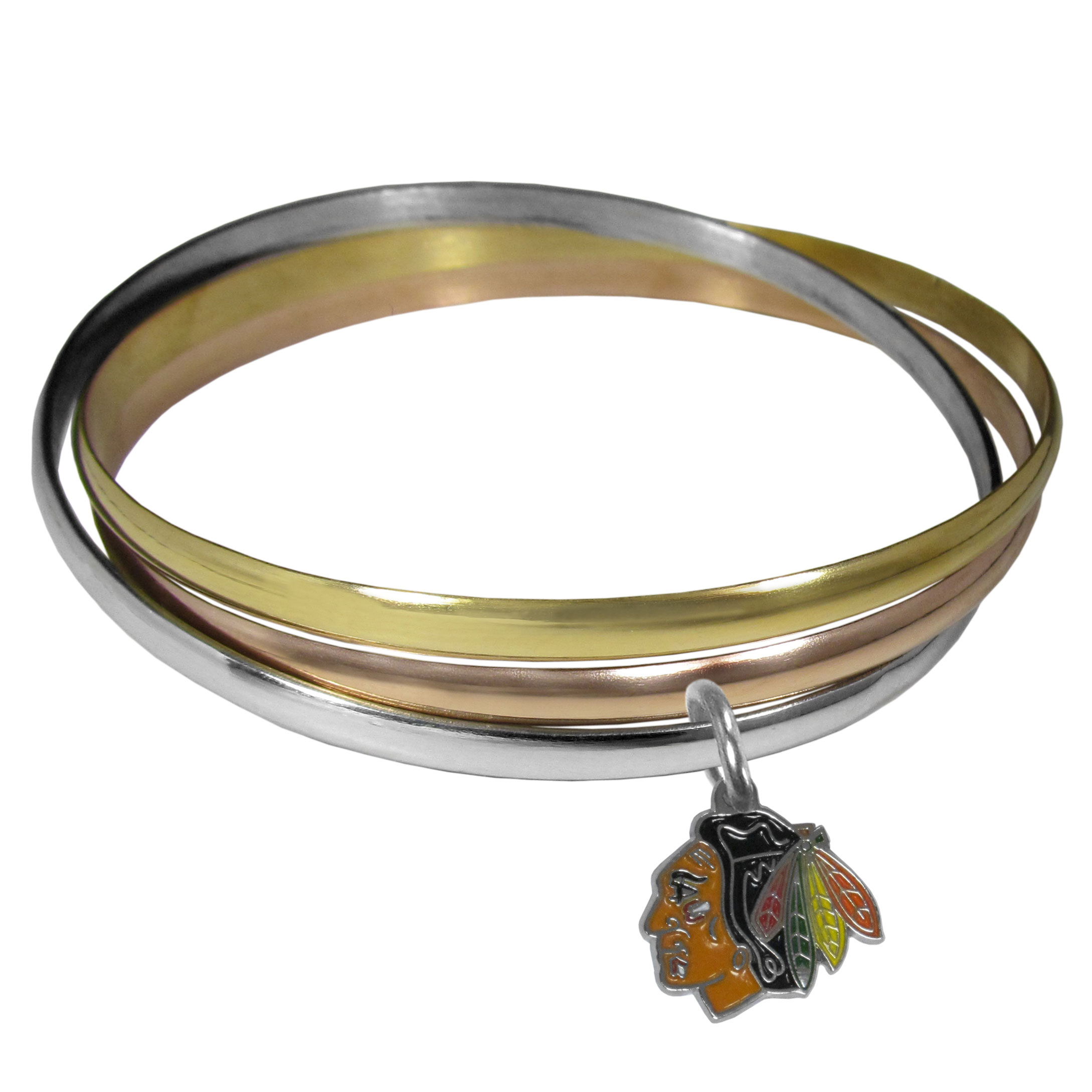 Chicago Blackhawks® Tri-color Bangle Bracelet - These beautiful bangles come in a interlocking style and feature a fully cast Chicago Blackhawks® charm with enameled team colors. The bracelet has a silver toned bangle, gold tone bangle and brass toned bangle.