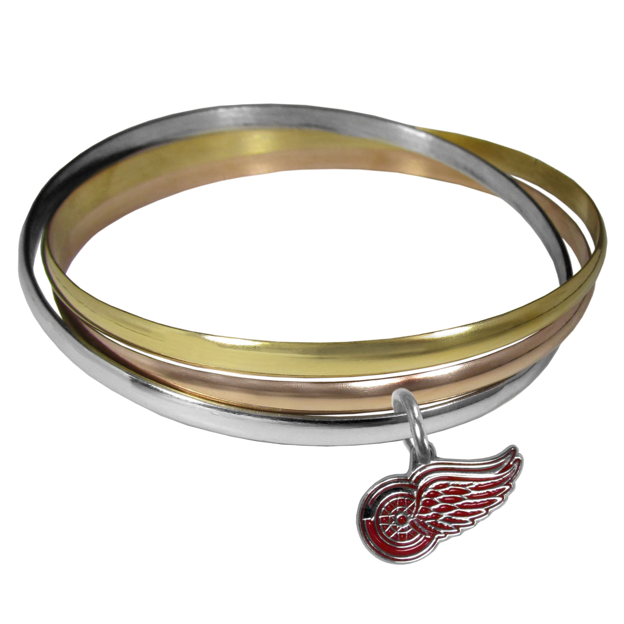 Detroit Red Wings® Tri-color Bangle Bracelet - These beautiful bangles come in a interlocking style and feature a fully cast Detroit Red Wings® charm with enameled team colors. The bracelet has a silver toned bangle, gold tone bangle and brass toned bangle.