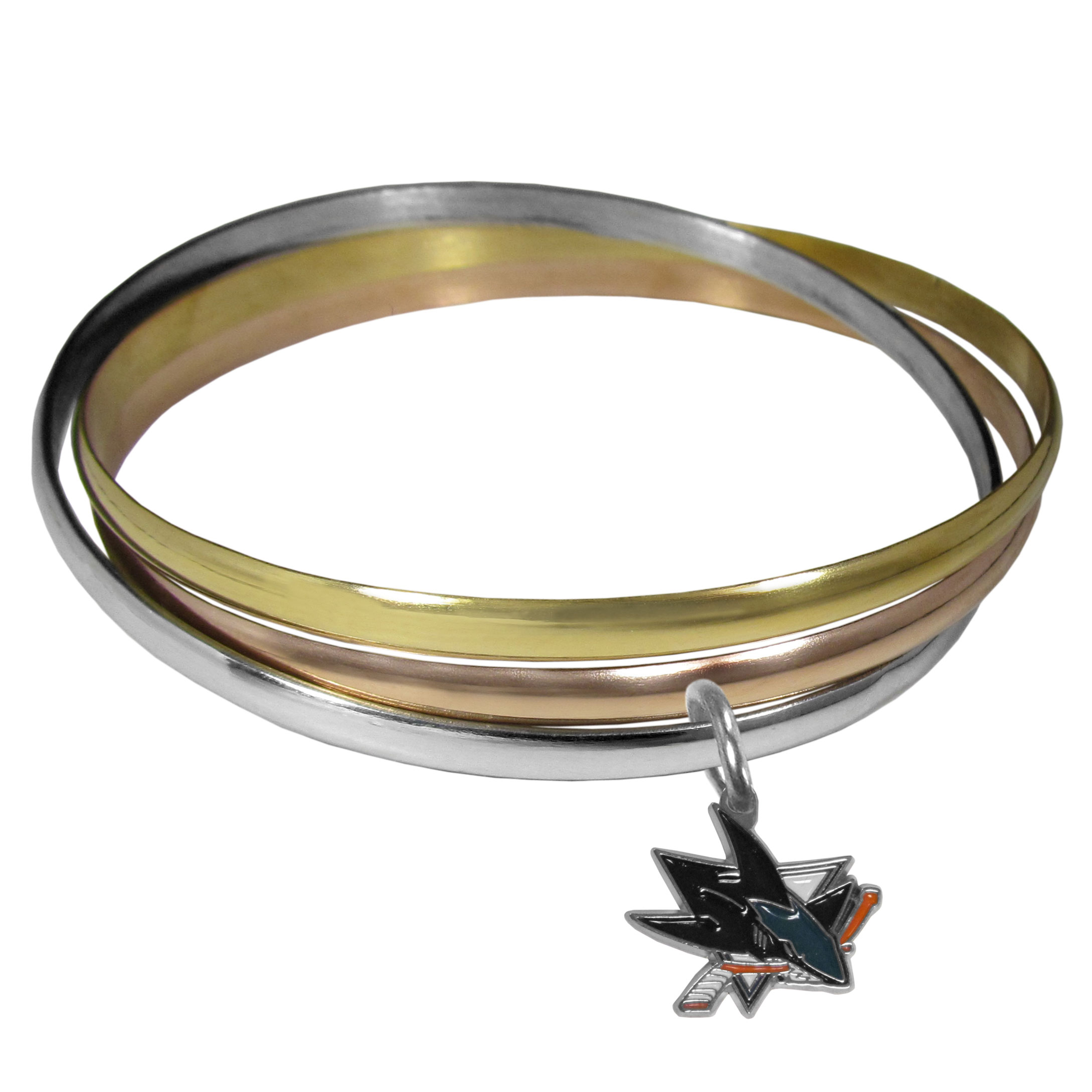 San Jose Sharks® Tri-color Bangle Bracelet - These beautiful bangles come in a interlocking style and feature a fully cast San Jose Sharks® charm with enameled team colors. The bracelet has a silver toned bangle, gold tone bangle and brass toned bangle.