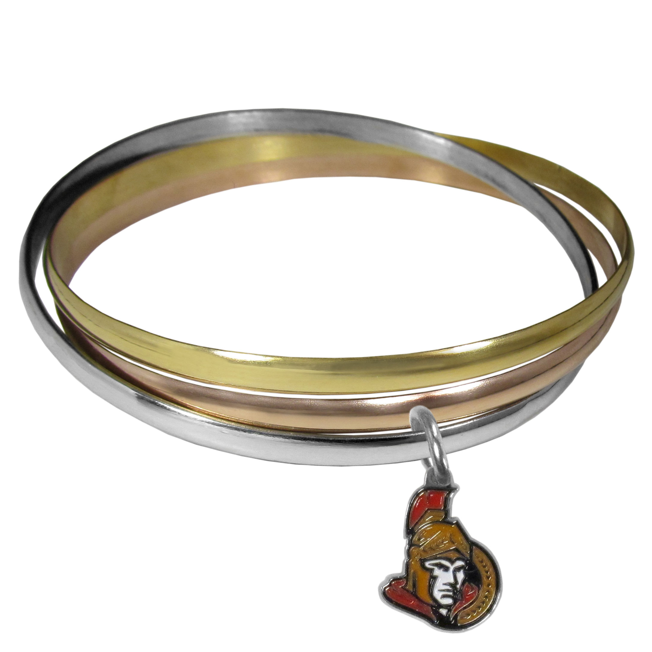 Ottawa Senators® Tri-color Bangle Bracelet - These beautiful bangles come in a interlocking style and feature a fully cast Ottawa Senators® charm with enameled team colors. The bracelet has a silver toned bangle, gold tone bangle and brass toned bangle.