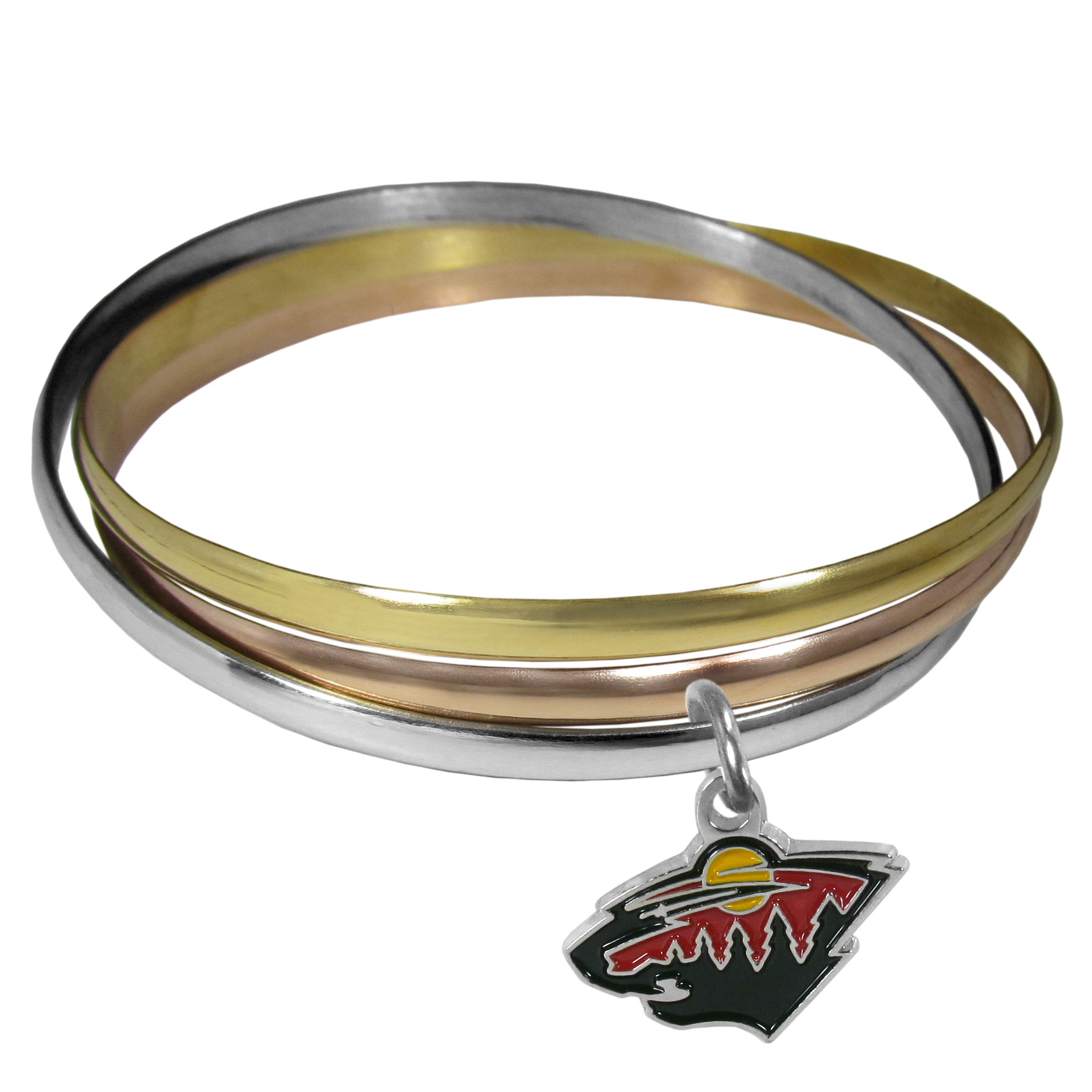 Minnesota Wild® Tri-color Bangle Bracelet - These beautiful bangles come in a interlocking style and feature a fully cast Minnesota Wild® charm with enameled team colors. The bracelet has a silver toned bangle, gold tone bangle and brass toned bangle.