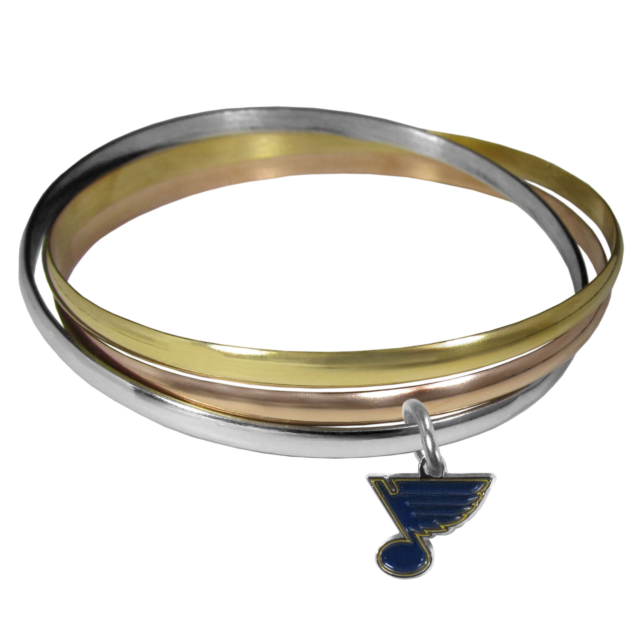St. Louis Blues® Tri-color Bangle Bracelet - These beautiful bangles come in a interlocking style and feature a fully cast St. Louis Blues® charm with enameled team colors. The bracelet has a silver toned bangle, gold tone bangle and brass toned bangle.