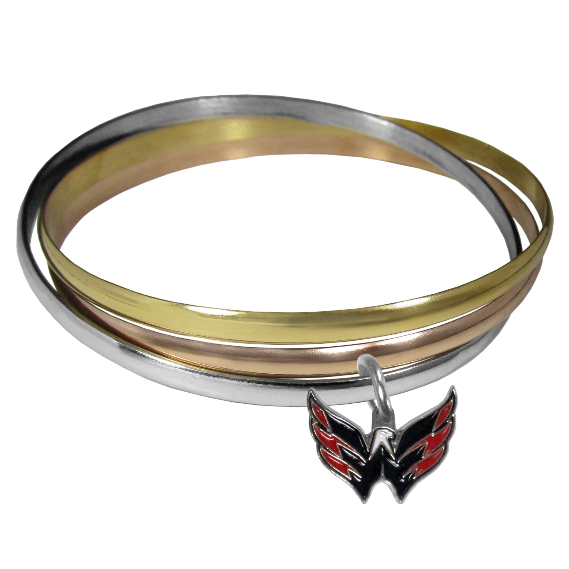 Washington Capitals® Tri-color Bangle Bracelet - These beautiful bangles come in a interlocking style and feature a fully cast Washington Capitals® charm with enameled team colors. The bracelet has a silver toned bangle, gold tone bangle and brass toned bangle.