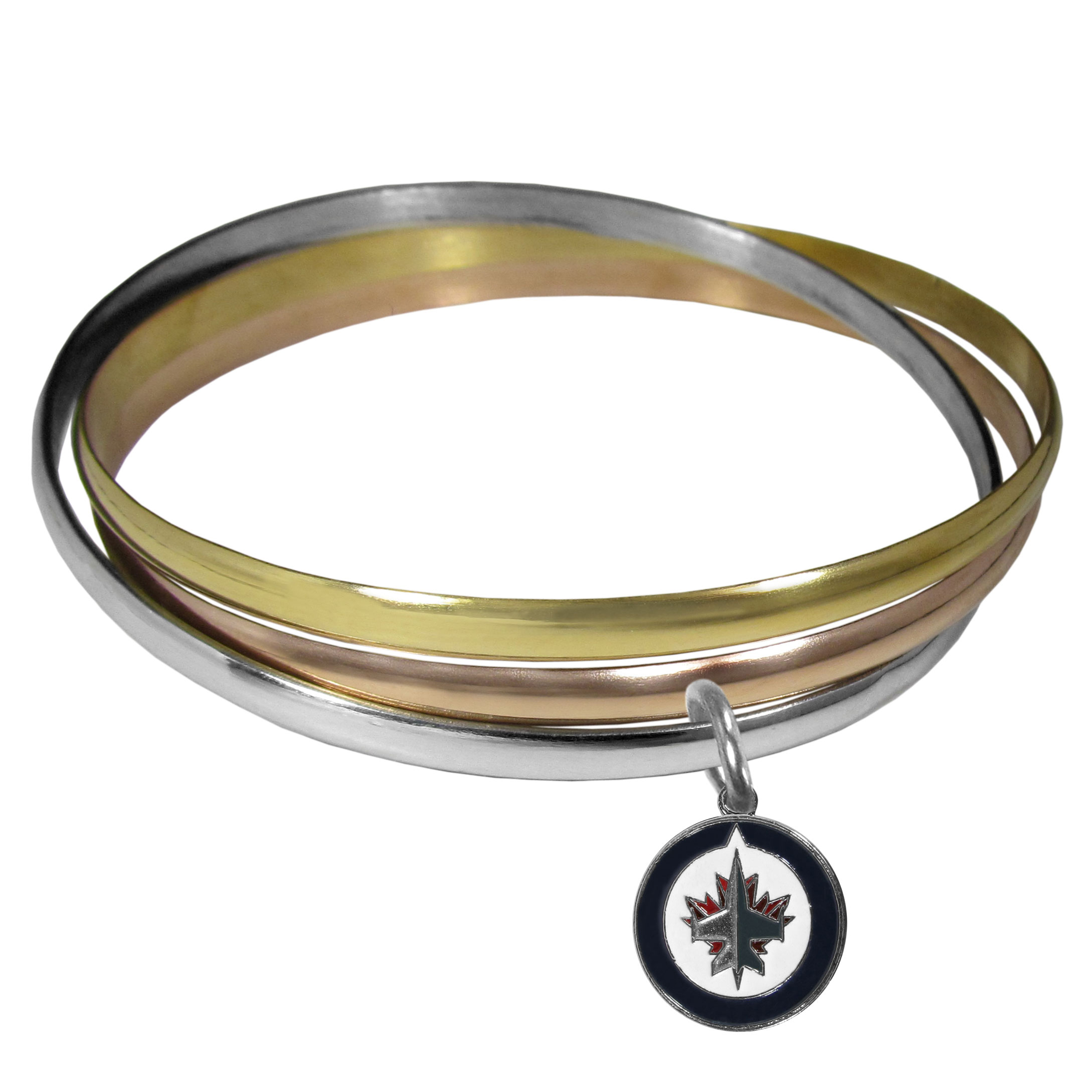 Winnipeg Jets Tri-color Bangle Bracelet - These beautiful bangles come in a interlocking style and feature a fully cast Winnipeg Jets? charm with enameled team colors. The bracelet has a silver toned bangle, gold tone bangle and brass toned bangle.
