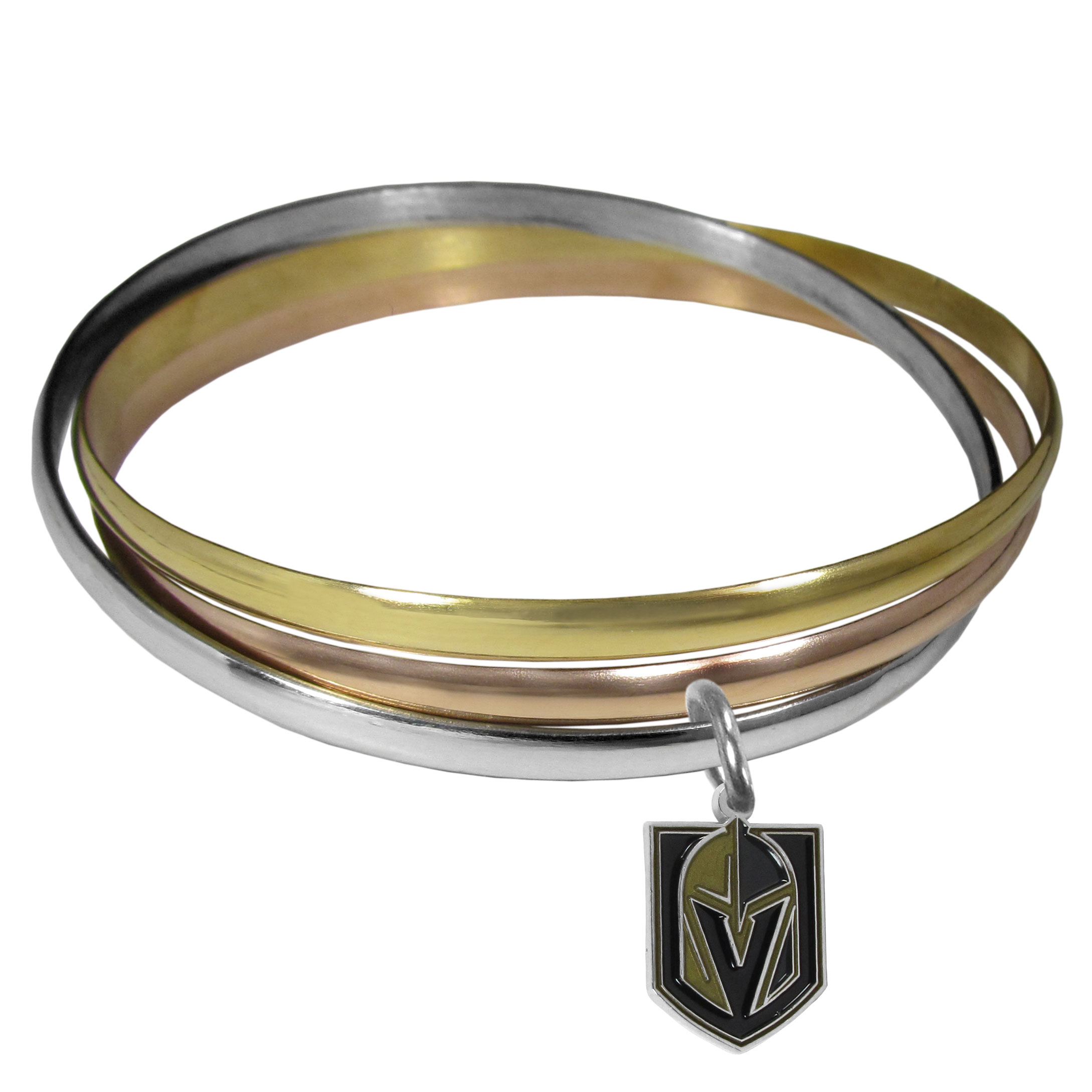 Vegas Golden Knights® Tri-color Bangle Bracelet - These beautiful bangles come in a interlocking style and feature a fully cast Vegas Golden Knights® charm with enameled team colors. The bracelet has a silver toned bangle, gold tone bangle and brass toned bangle.