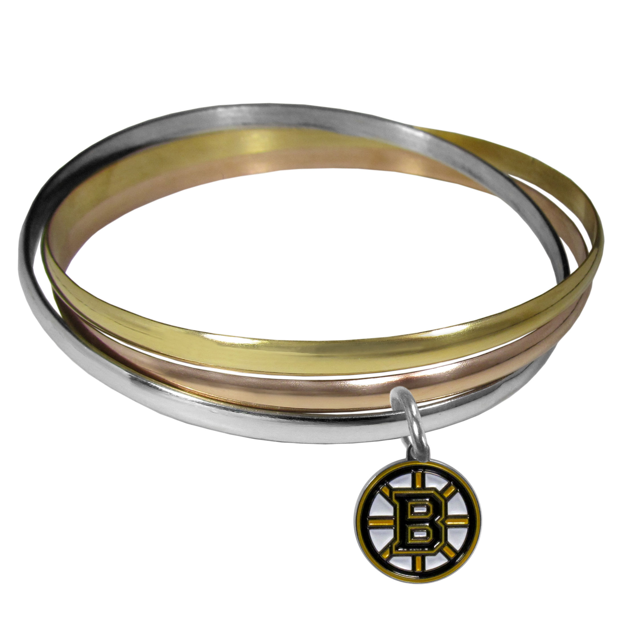 Boston Bruins® Tri-color Bangle Bracelet - These beautiful bangles come in a interlocking style and feature a fully cast Boston Bruins® charm with enameled team colors. The bracelet has a silver toned bangle, gold tone bangle and brass toned bangle.