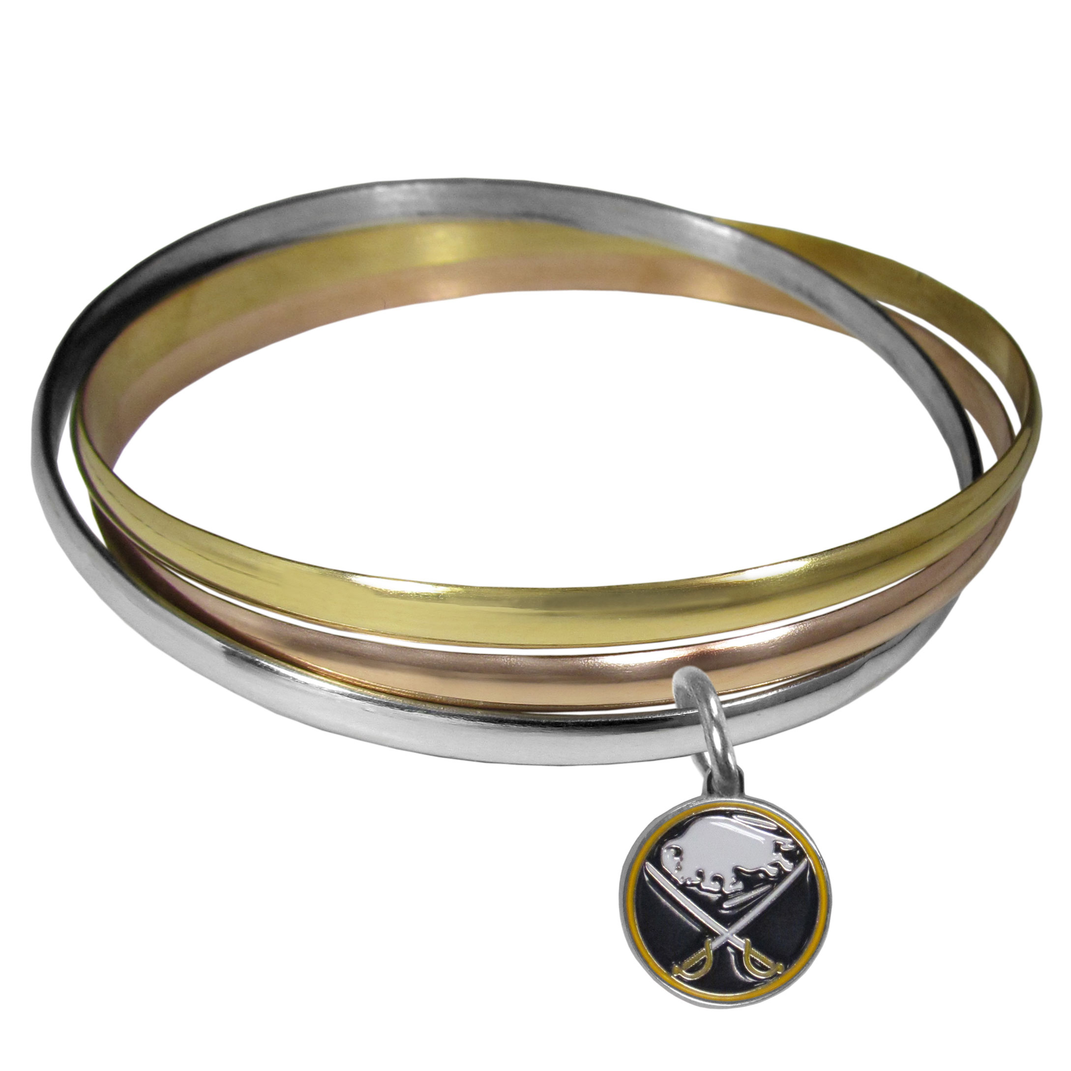Buffalo Sabres® Tri-color Bangle Bracelet - These beautiful bangles come in a interlocking style and feature a fully cast Buffalo Sabres® charm with enameled team colors. The bracelet has a silver toned bangle, gold tone bangle and brass toned bangle.