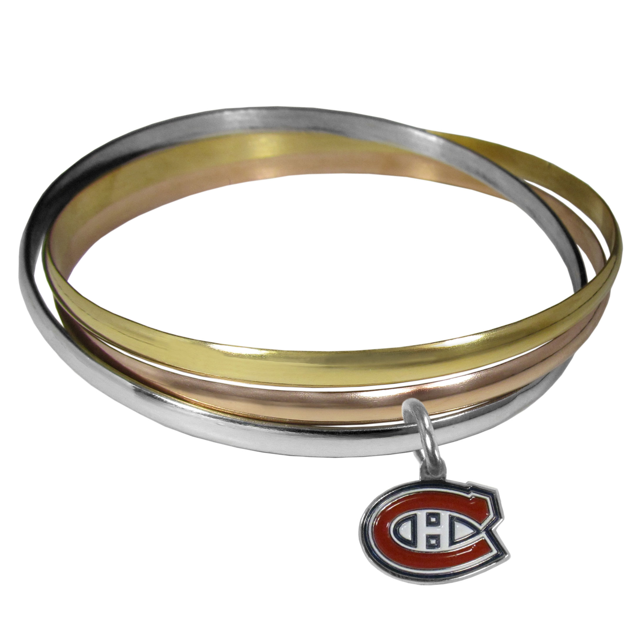 Montreal Canadiens® Tri-color Bangle Bracelet - These beautiful bangles come in a interlocking style and feature a fully cast Montreal Canadiens® charm with enameled team colors. The bracelet has a silver toned bangle, gold tone bangle and brass toned bangle.