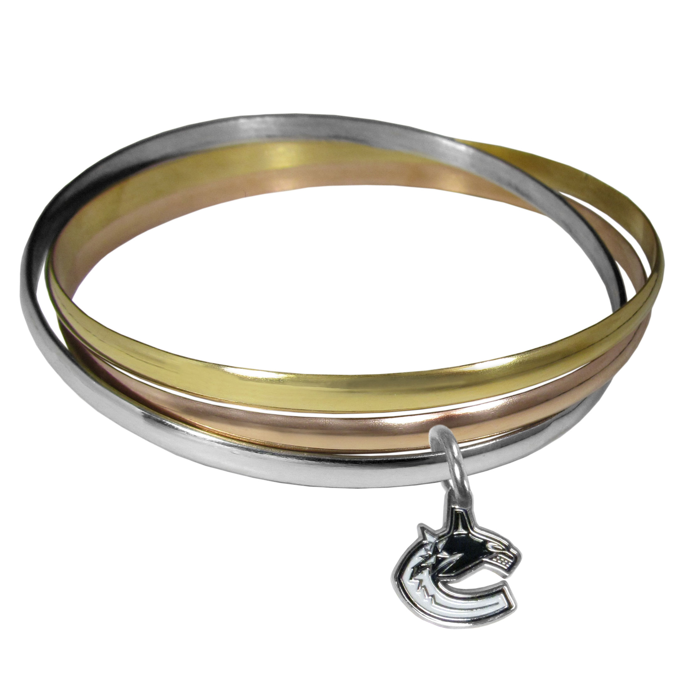 Vancouver Canucks® Tri-color Bangle Bracelet - These beautiful bangles come in a interlocking style and feature a fully cast Vancouver Canucks® charm with enameled team colors. The bracelet has a silver toned bangle, gold tone bangle and brass toned bangle.