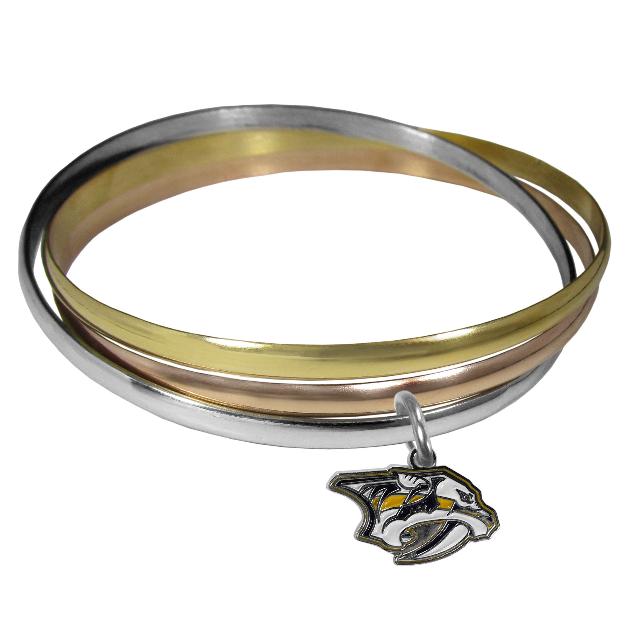 Nashville Predators® Tri-color Bangle Bracelet - These beautiful bangles come in a interlocking style and feature a fully cast Nashville Predators® charm with enameled team colors. The bracelet has a silver toned bangle, gold tone bangle and brass toned bangle.