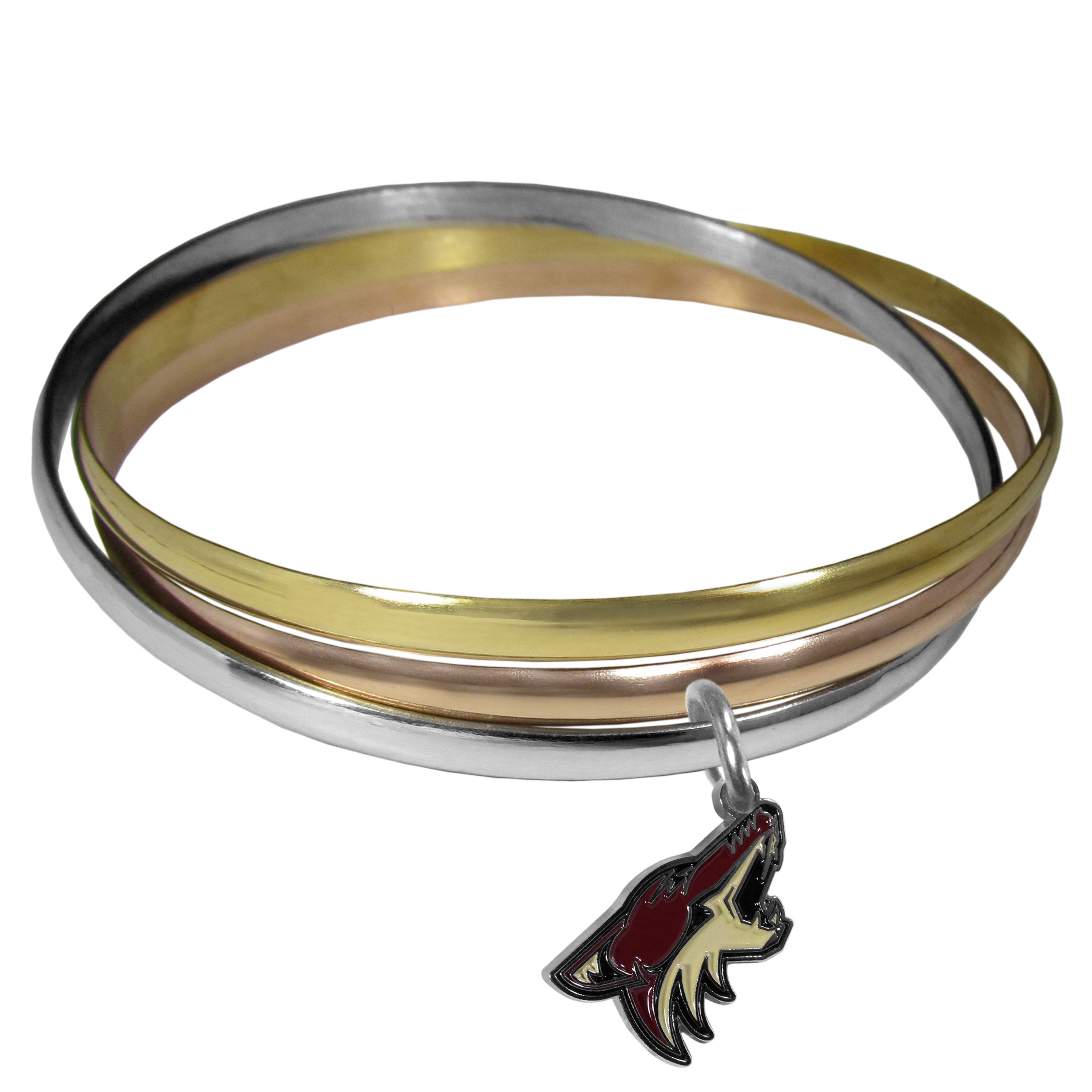 Arizona Coyotes® Tri-color Bangle Bracelet - These beautiful bangles come in a interlocking style and feature a fully cast Arizona Coyotes® charm with enameled team colors. The bracelet has a silver toned bangle, gold tone bangle and brass toned bangle.