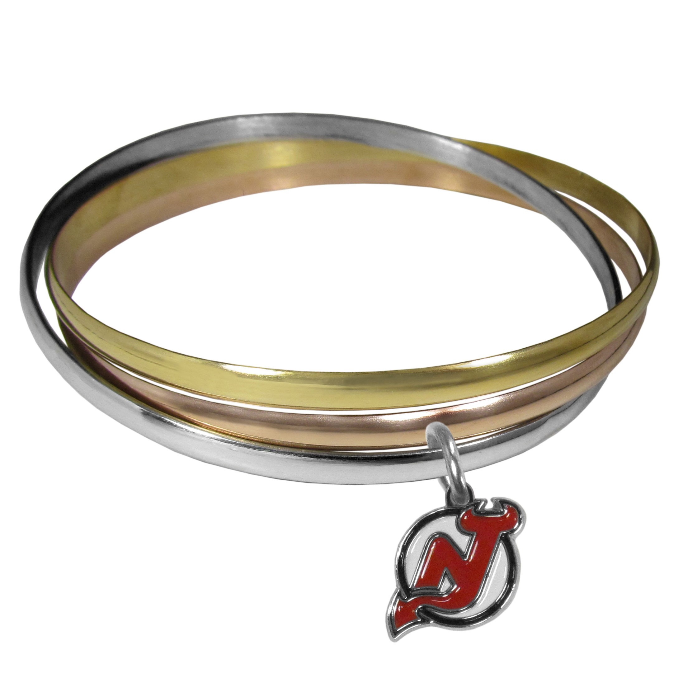 New Jersey Devils® Tri-color Bangle Bracelet - These beautiful bangles come in a interlocking style and feature a fully cast New Jersey Devils® charm with enameled team colors. The bracelet has a silver toned bangle, gold tone bangle and brass toned bangle.