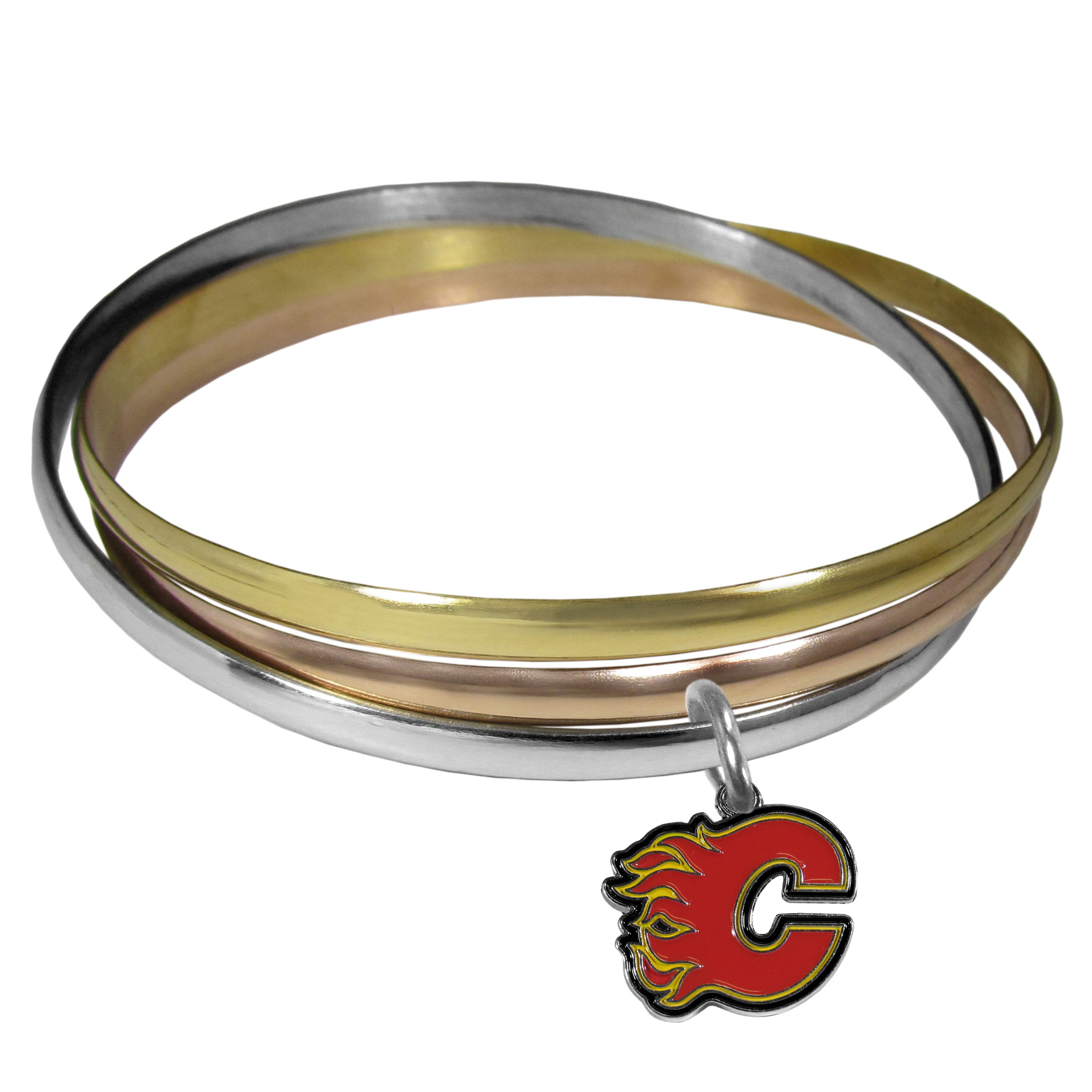 Calgary Flames® Tri-color Bangle Bracelet - These beautiful bangles come in a interlocking style and feature a fully cast Calgary Flames® charm with enameled team colors. The bracelet has a silver toned bangle, gold tone bangle and brass toned bangle.