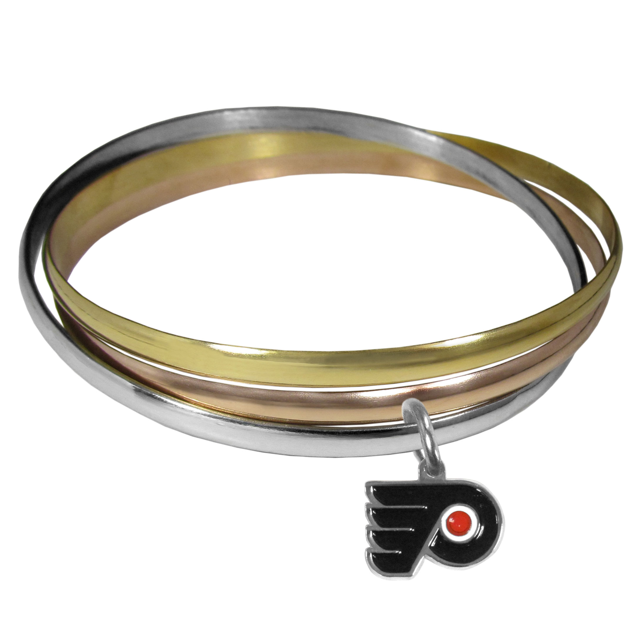 Philadelphia Flyers® Tri-color Bangle Bracelet - These beautiful bangles come in a interlocking style and feature a fully cast Philadelphia Flyers® charm with enameled team colors. The bracelet has a silver toned bangle, gold tone bangle and brass toned bangle.