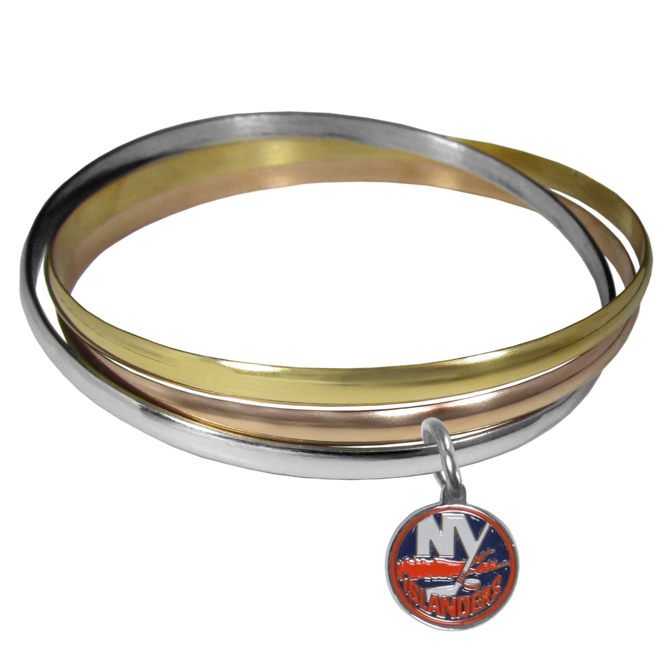 New York Islanders® Tri-color Bangle Bracelet - These beautiful bangles come in a interlocking style and feature a fully cast New York Islanders® charm with enameled team colors. The bracelet has a silver toned bangle, gold tone bangle and brass toned bangle.