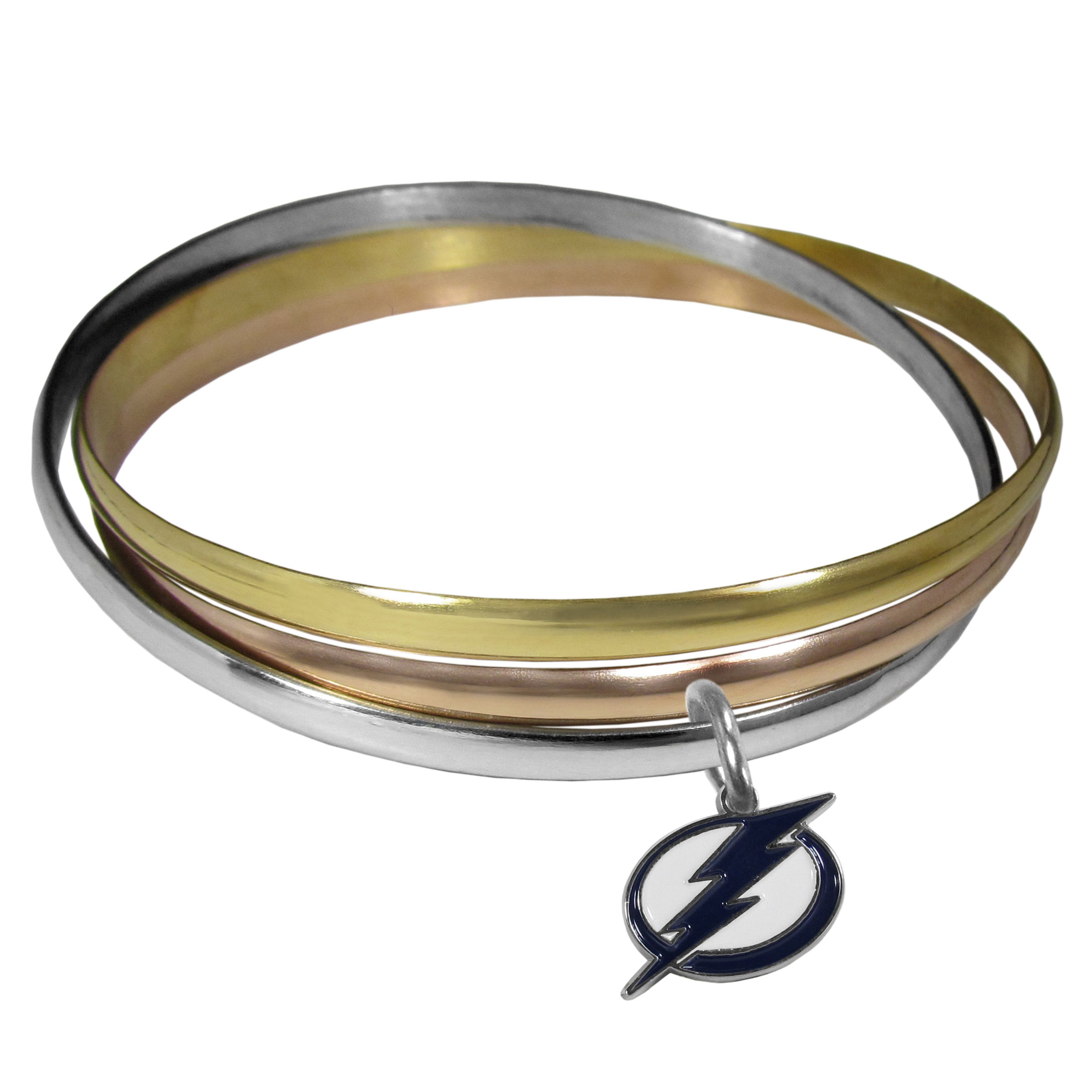 Tampa Bay Lightning® Tri-color Bangle Bracelet - These beautiful bangles come in a interlocking style and feature a fully cast Tampa Bay Lightning® charm with enameled team colors. The bracelet has a silver toned bangle, gold tone bangle and brass toned bangle.