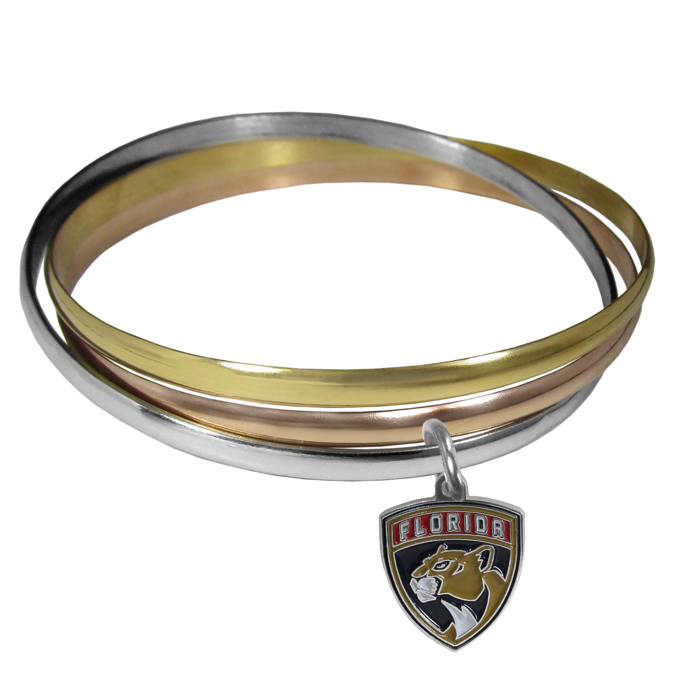 Florida Panthers® Tri-color Bangle Bracelet - These beautiful bangles come in a interlocking style and feature a fully cast Florida Panthers® charm with enameled team colors. The bracelet has a silver toned bangle, gold tone bangle and brass toned bangle.