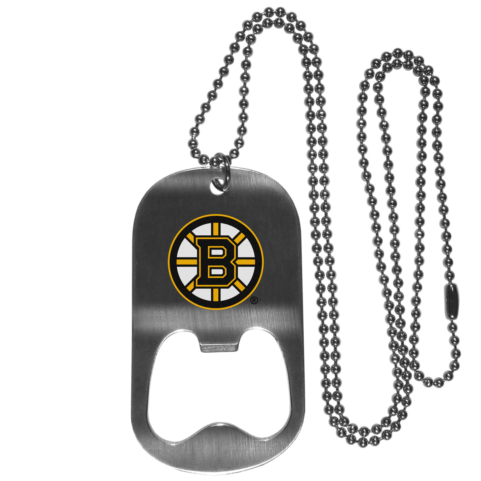 Boston Bruins Bottle Opener Tag Necklace - Our Boston Bruins bottle opener tag necklace has a brushed metal finish and inlaid team logo. The pendant has bottle opener feature and comes on a 20 inch ball chain making the perfect game day accessory!