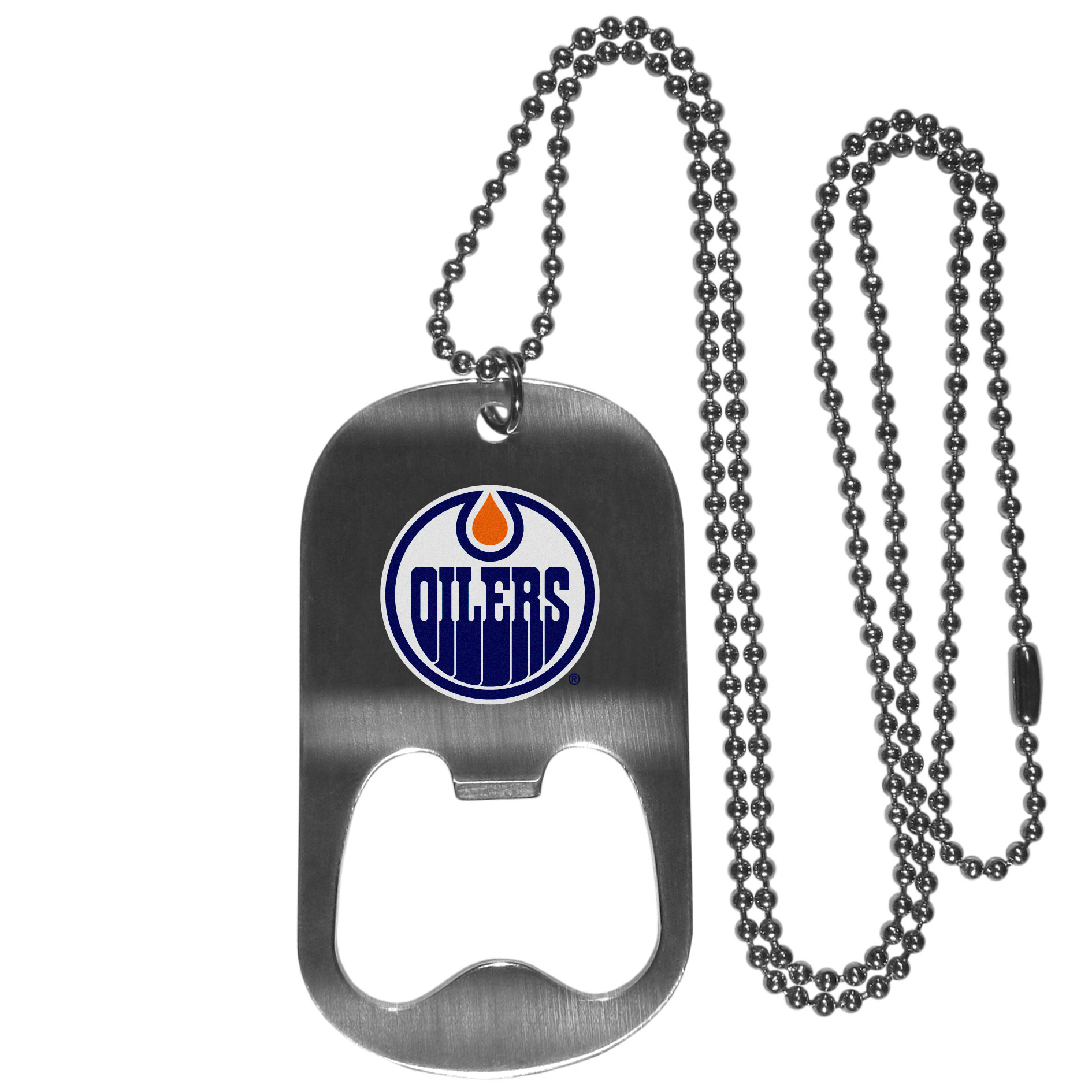 Edmonton Oilers Bottle Opener Tag Necklace - Our Edmonton Oilers bottle opener tag necklace has a brushed metal finish and inlaid team logo. The pendant has bottle opener feature and comes on a 20 inch ball chain making the perfect game day accessory!