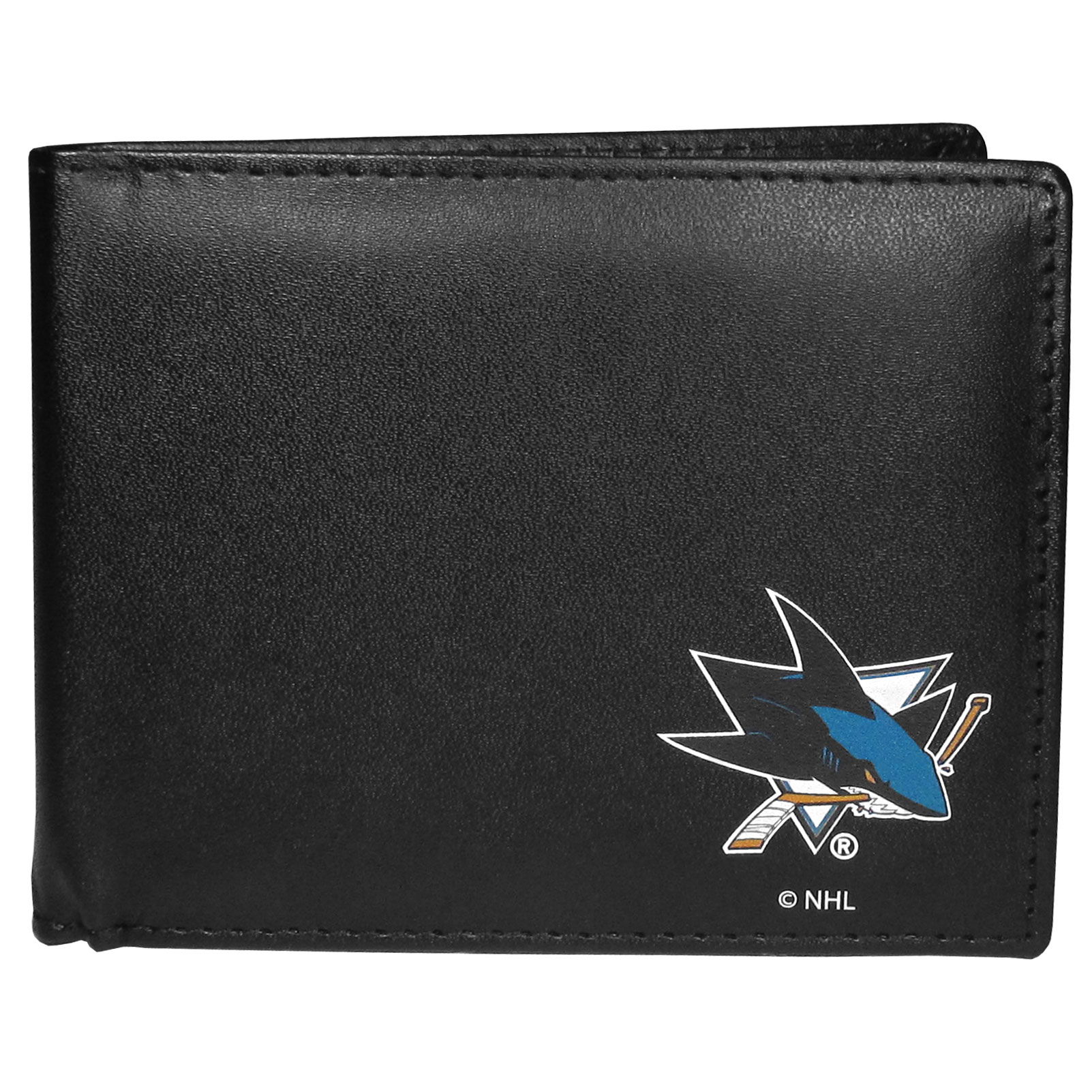 San Jose Sharks Bi-fold Wallet - Sports fans do not have to sacrifice style with this classic bi-fold wallet that sports a San Jose Sharks emblem. This men's fashion accessory has a leather grain look and expert craftmanship for a quality wallet at a great price. The wallet features inner credit card slots, windowed ID slot and a large billfold pocket. The front of the wallet features a printed team logo.