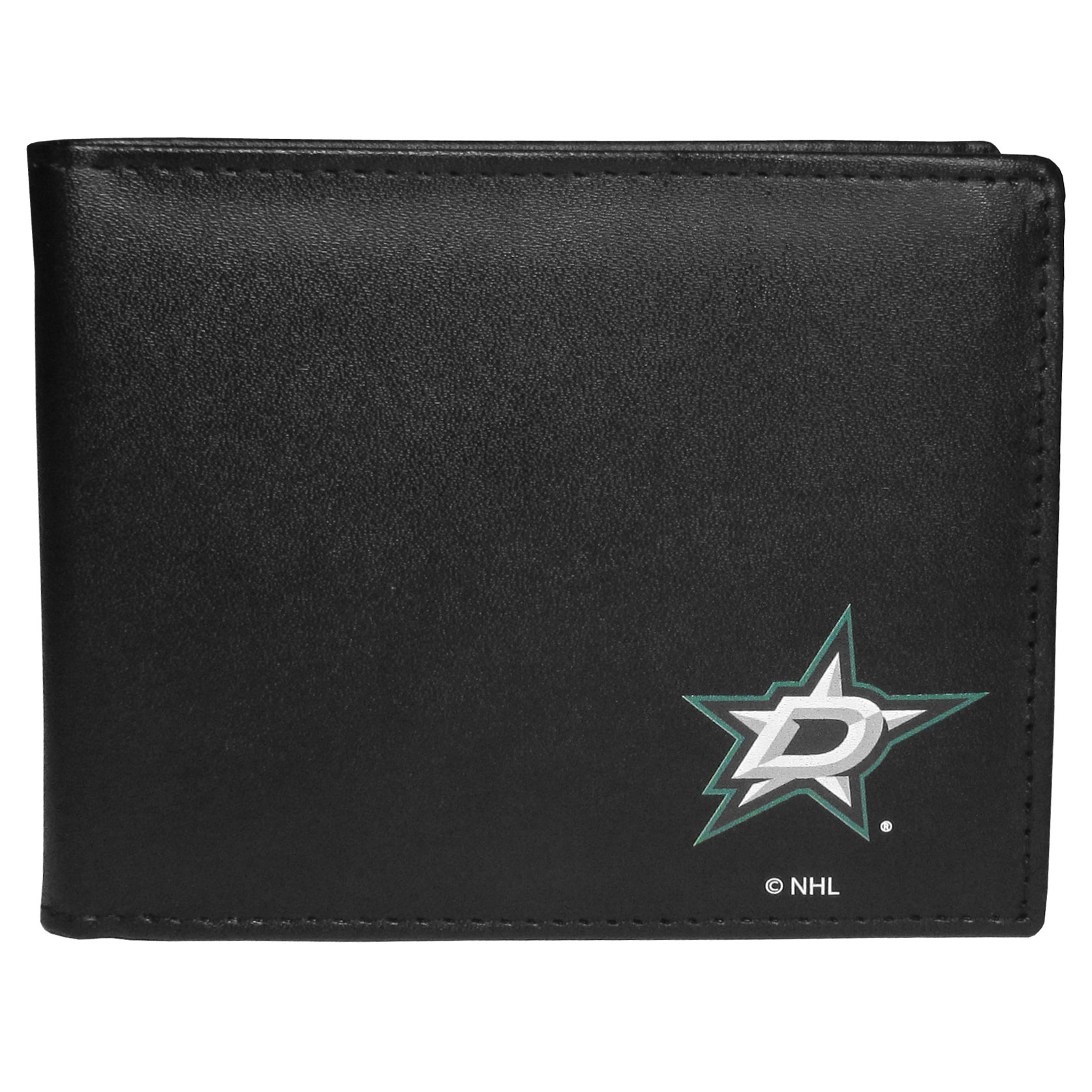 Dallas Stars Bi-fold Wallet - Sports fans do not have to sacrifice style with this classic bi-fold wallet that sports a Dallas Stars™ emblem. This men's fashion accessory has a leather grain look and expert craftmanship for a quality wallet at a great price. The wallet features inner credit card slots, windowed ID slot and a large billfold pocket. The front of the wallet features a printed team logo.