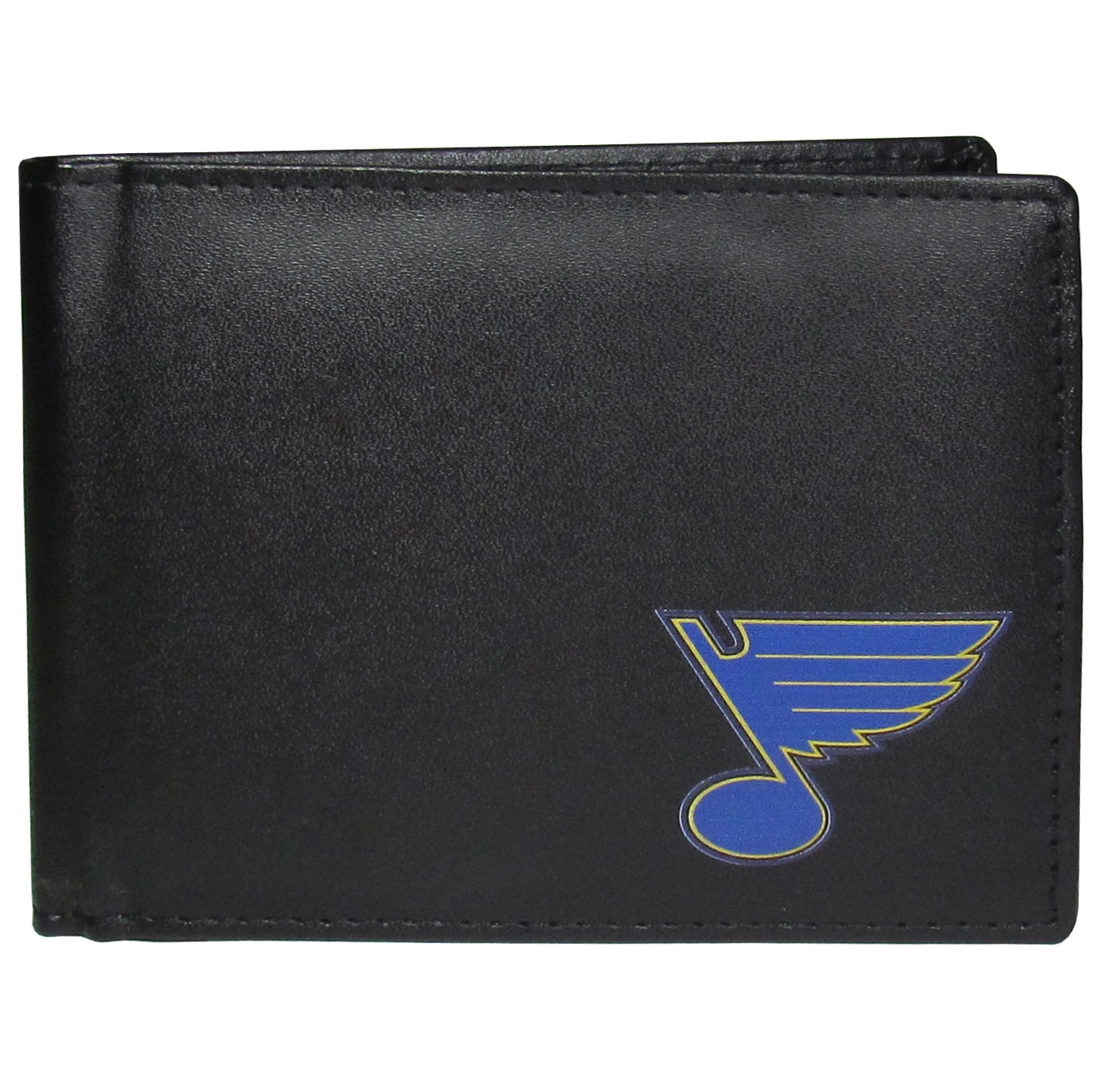 St. Louis Blues Bi-fold Wallet - Sports fans do not have to sacrifice style with this classic bi-fold wallet that sports a St. Louis Blues emblem. This men's fashion accessory has a leather grain look and expert craftmanship for a quality wallet at a great price. The wallet features inner credit card slots, windowed ID slot and a large billfold pocket. The front of the wallet features a printed team logo.