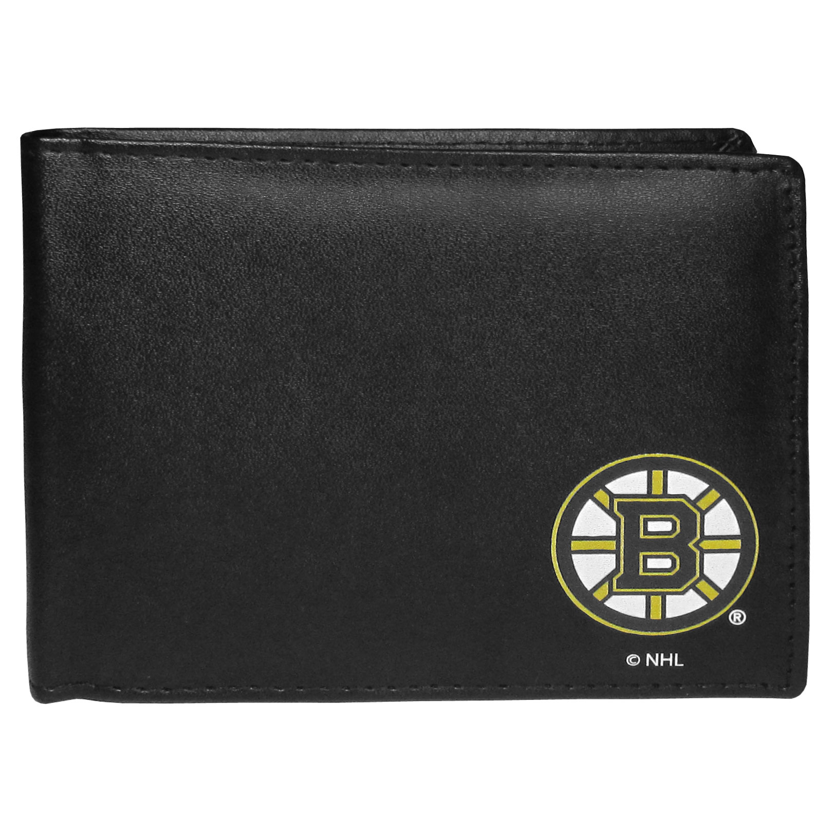 Boston Bruins Bi-fold Wallet - Sports fans do not have to sacrifice style with this classic bi-fold wallet that sports a Boston Bruins emblem. This men's fashion accessory has a leather grain look and expert craftmanship for a quality wallet at a great price. The wallet features inner credit card slots, windowed ID slot and a large billfold pocket. The front of the wallet features a printed team logo.