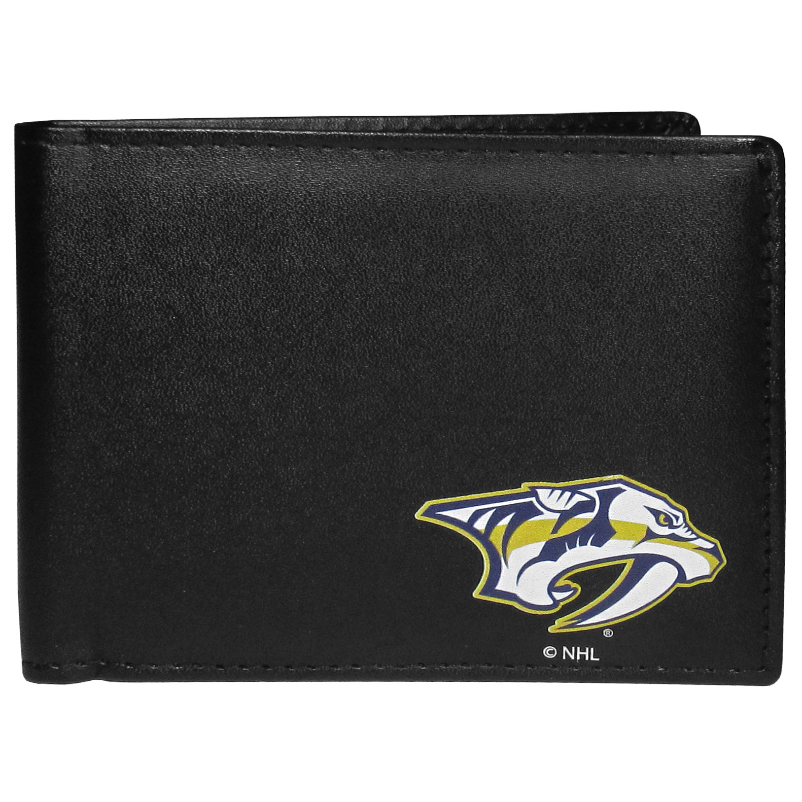Nashville Predators Bi-fold Wallet - Sports fans do not have to sacrifice style with this classic bi-fold wallet that sports a Nashville Predators emblem. This men's fashion accessory has a leather grain look and expert craftmanship for a quality wallet at a great price. The wallet features inner credit card slots, windowed ID slot and a large billfold pocket. The front of the wallet features a printed team logo.