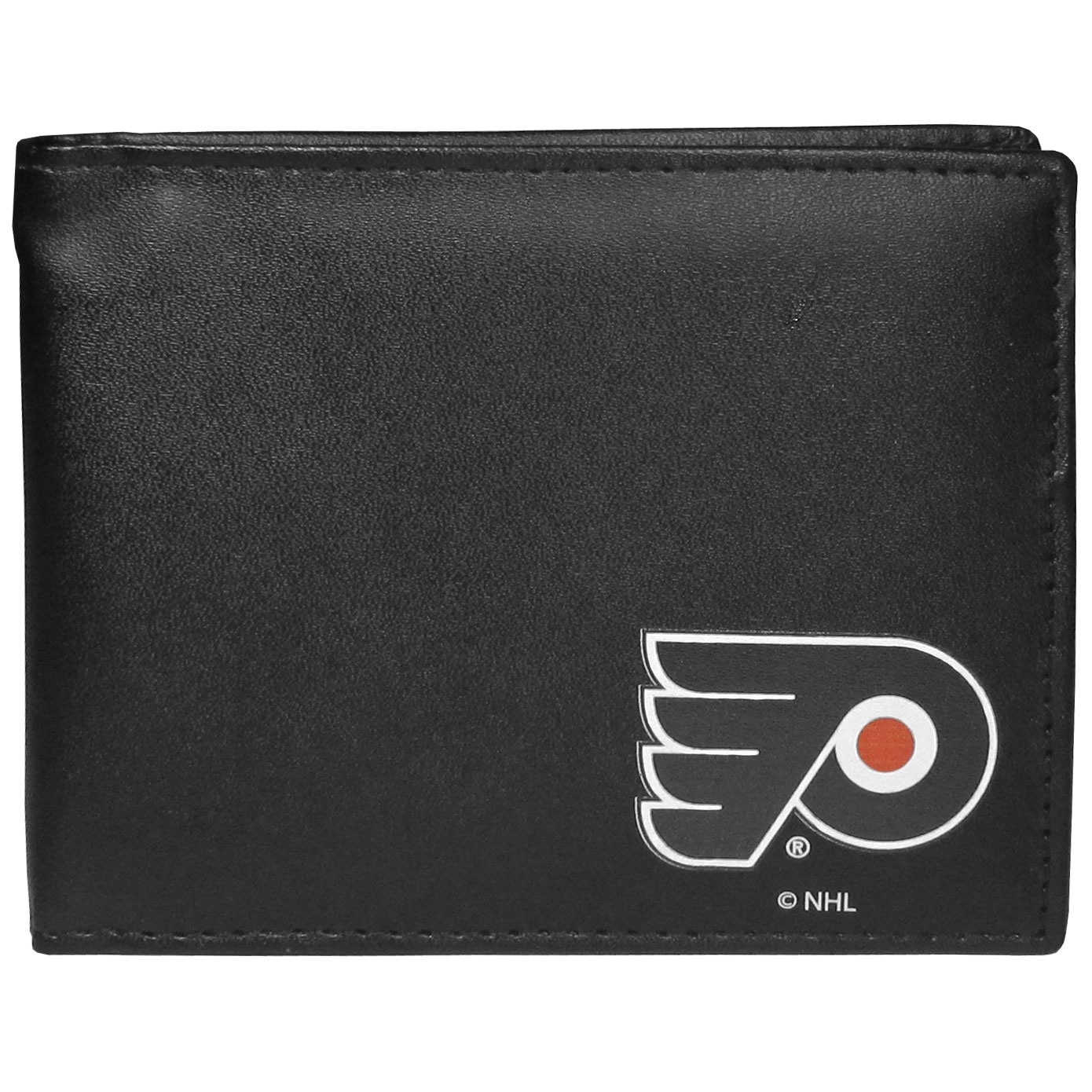 Philadelphia Flyers Bi-fold Wallet - Sports fans do not have to sacrifice style with this classic bi-fold wallet that sports a Philadelphia Flyers emblem. This men's fashion accessory has a leather grain look and expert craftmanship for a quality wallet at a great price. The wallet features inner credit card slots, windowed ID slot and a large billfold pocket. The front of the wallet features a printed team logo.
