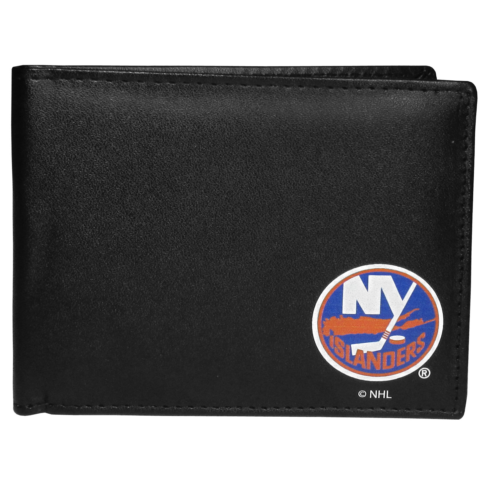 New York Islanders Bi-fold Wallet - Sports fans do not have to sacrifice style with this classic bi-fold wallet that sports a New York Islanders emblem. This men's fashion accessory has a leather grain look and expert craftmanship for a quality wallet at a great price. The wallet features inner credit card slots, windowed ID slot and a large billfold pocket. The front of the wallet features a printed team logo.