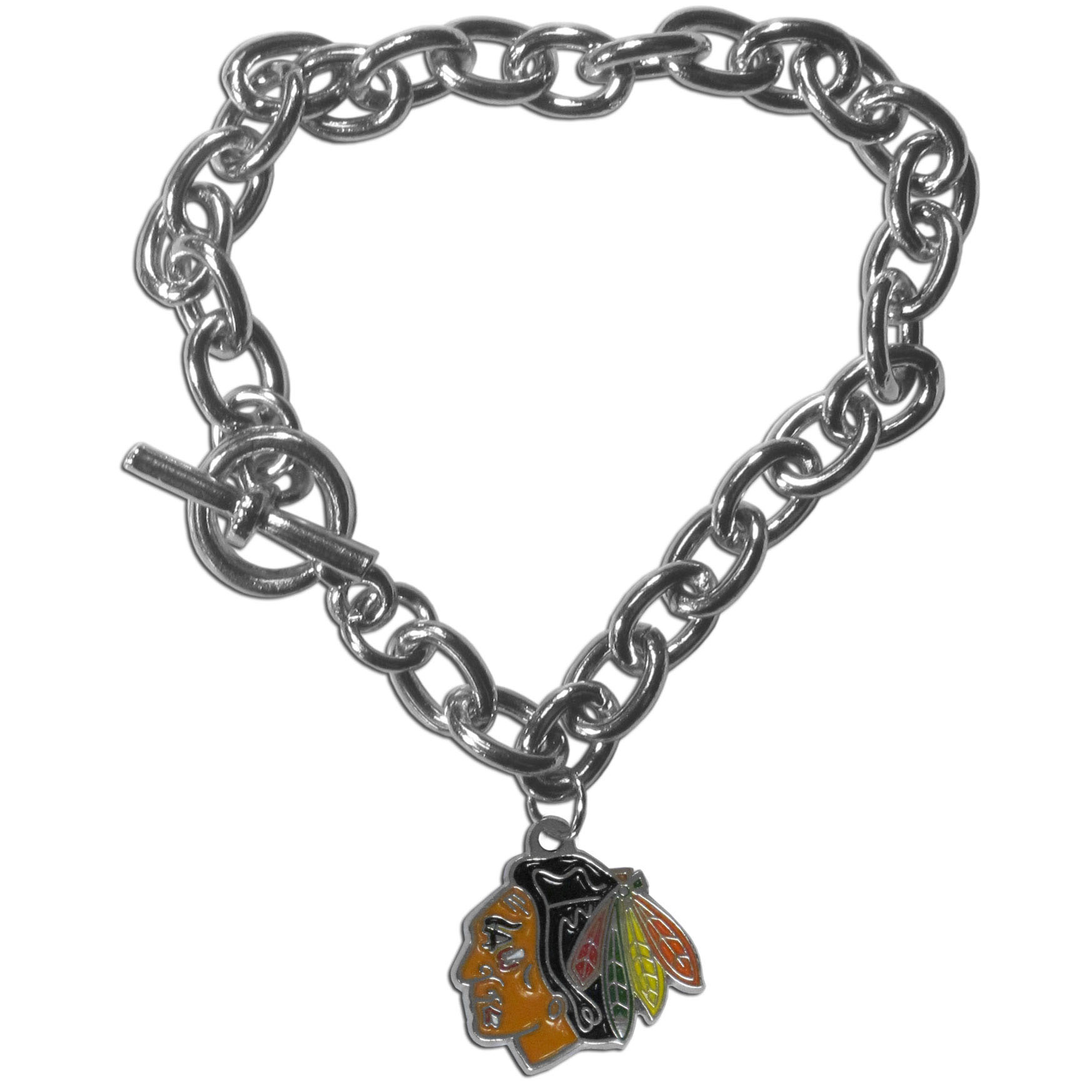 Chicago Blackhawks® Charm Chain Bracelet - Our classic single charm bracelet is a great way to show off your team pride! The 7.5 inch large link chain features a high polish Chicago Blackhawks® charm and features a toggle clasp which makes it super easy to take on and off.