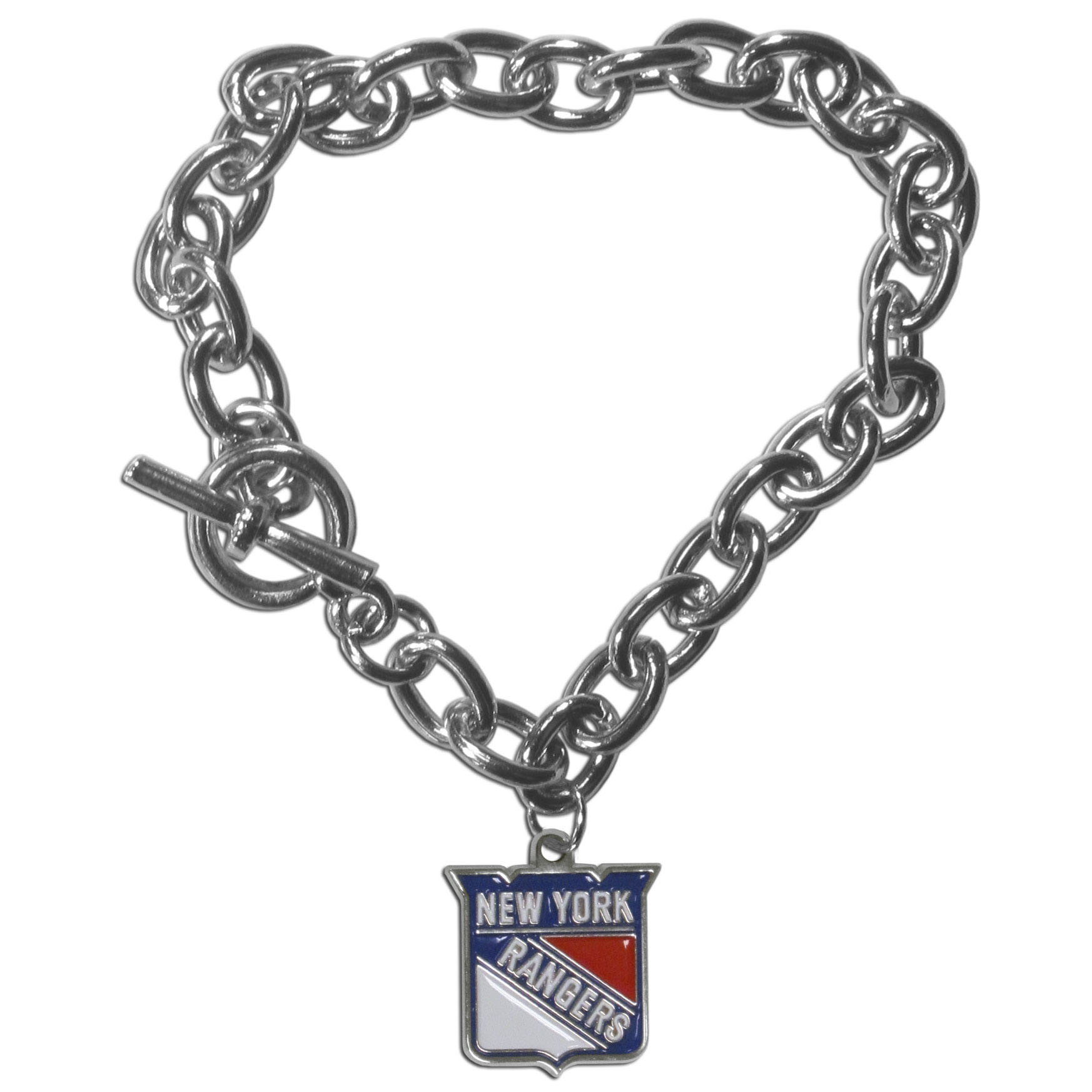 New York Rangers® Charm Chain Bracelet - Our classic single charm bracelet is a great way to show off your team pride! The 7.5 inch large link chain features a high polish New York Rangers® charm and features a toggle clasp which makes it super easy to take on and off.