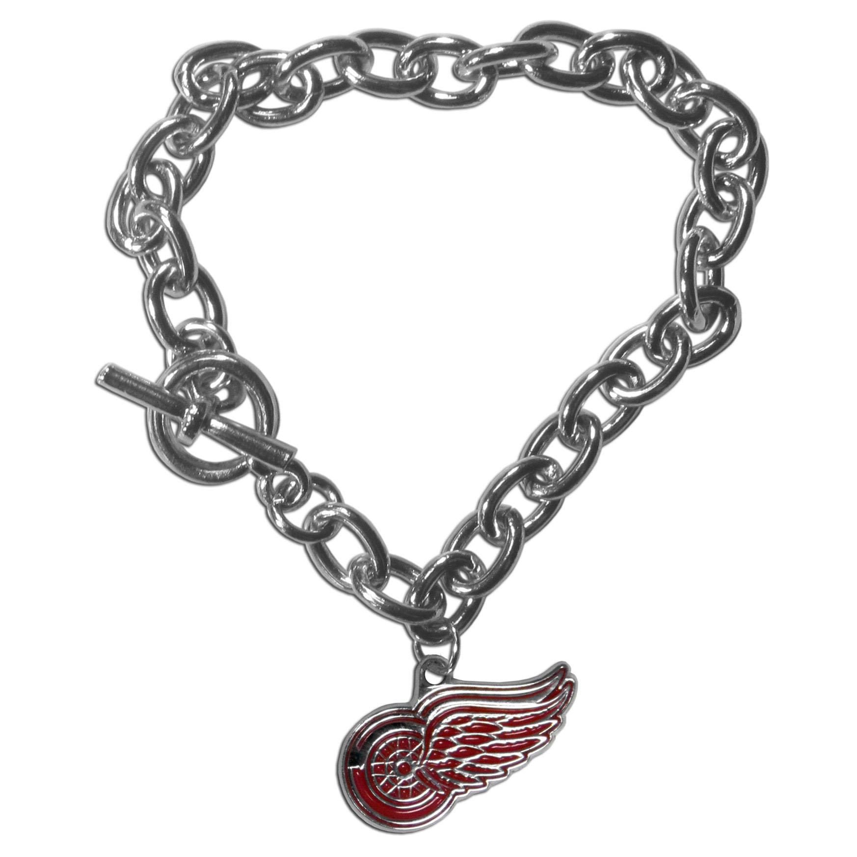 Detroit Red Wings® Charm Chain Bracelet - Our classic single charm bracelet is a great way to show off your team pride! The 7.5 inch large link chain features a high polish Detroit Red Wings® charm and features a toggle clasp which makes it super easy to take on and off.