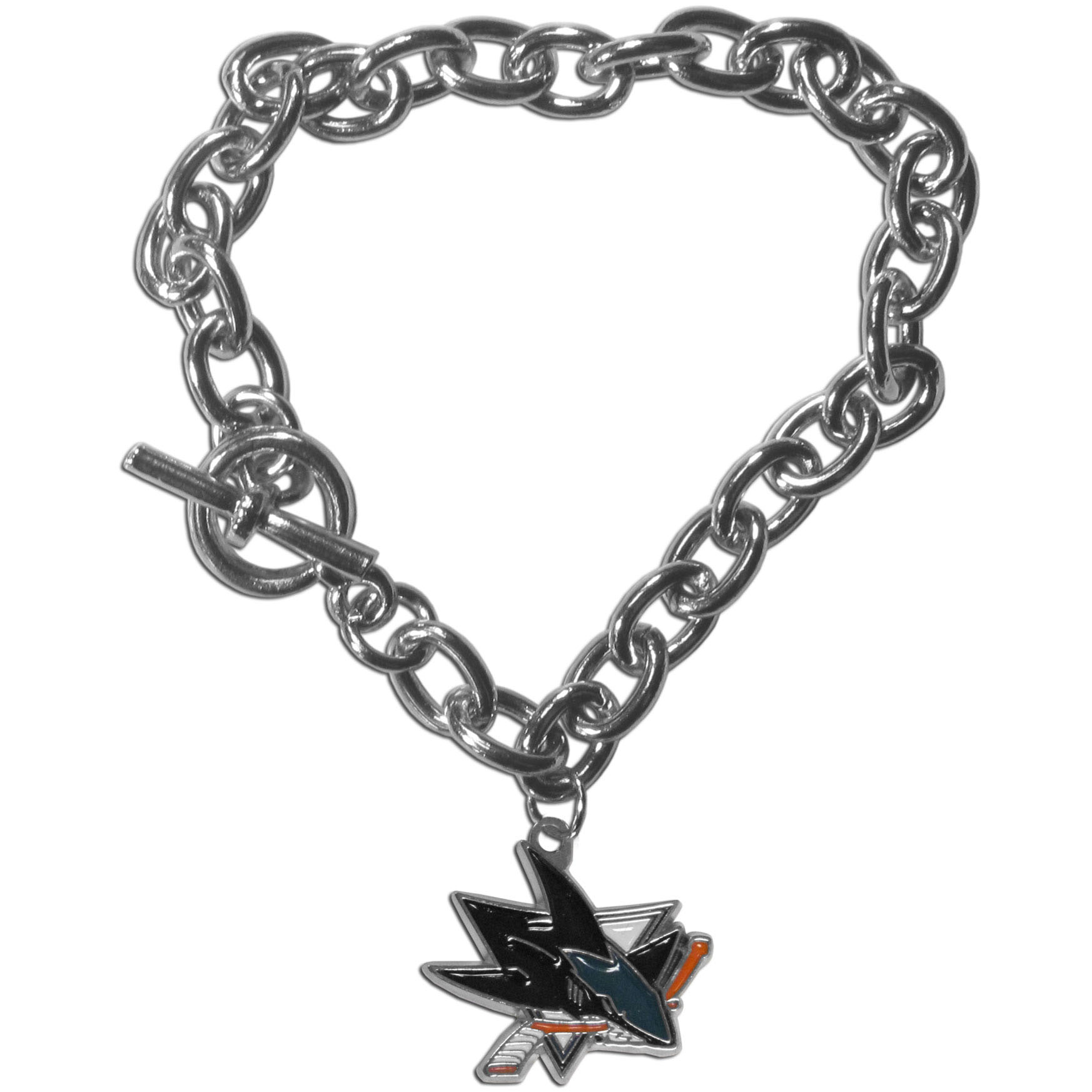 San Jose Sharks® Charm Chain Bracelet - Our classic single charm bracelet is a great way to show off your team pride! The 7.5 inch large link chain features a high polish San Jose Sharks® charm and features a toggle clasp which makes it super easy to take on and off.