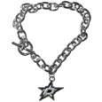 Dallas Stars  Charm Chain Bracelet - Our classic single charm bracelet is a great way to show off your team pride! The 7.5 inch large link chain features a high polish Dallas Stars  charm and features a toggle clasp which makes it super easy to take on and off.