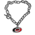 Carolina Hurricanes  Charm Chain Bracelet - Our classic single charm bracelet is a great way to show off your team pride! The 7.5 inch large link chain features a high polish Carolina Hurricanes  charm and features a toggle clasp which makes it super easy to take on and off.
