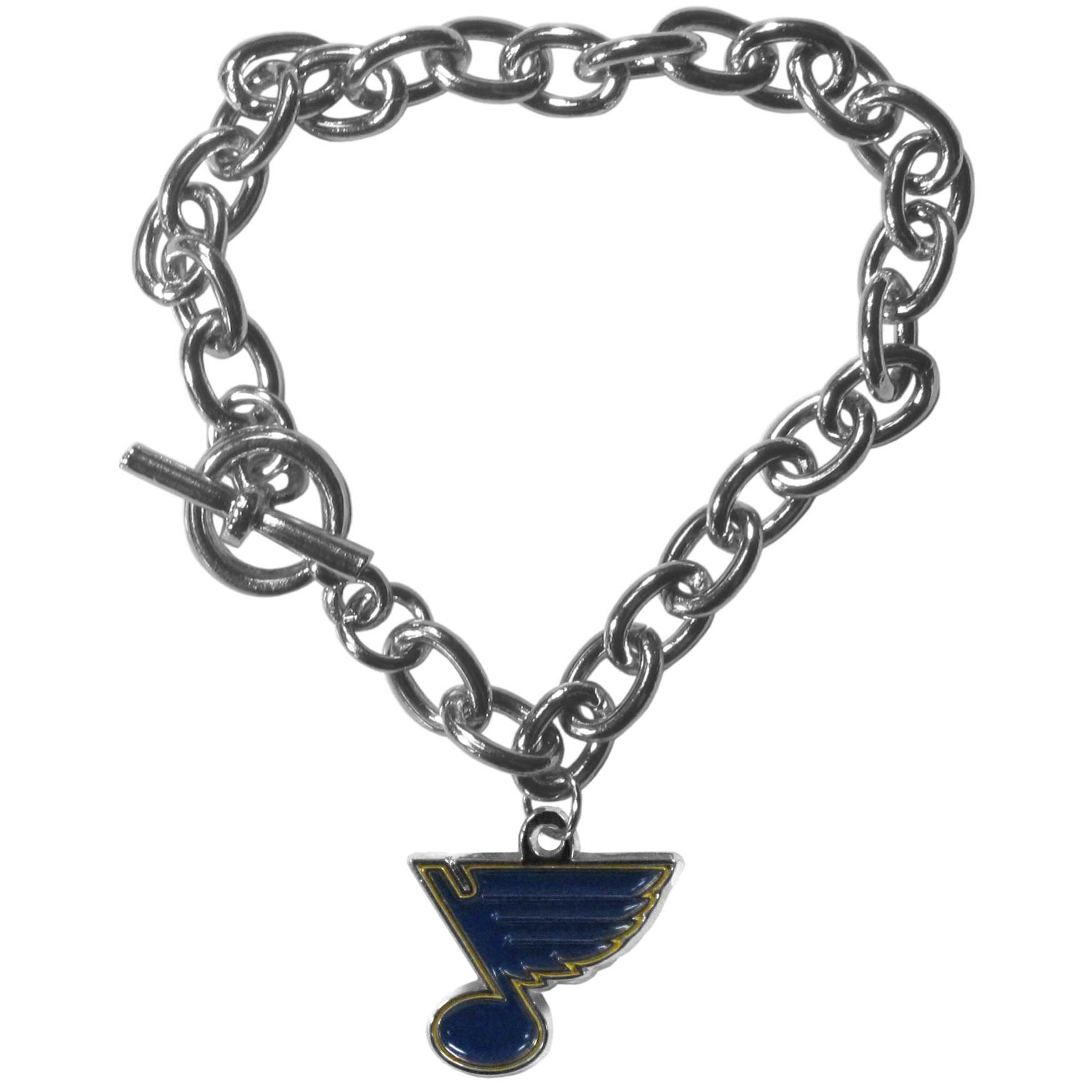 St. Louis Blues® Charm Chain Bracelet - Our classic single charm bracelet is a great way to show off your team pride! The 7.5 inch large link chain features a high polish St. Louis Blues® charm and features a toggle clasp which makes it super easy to take on and off.