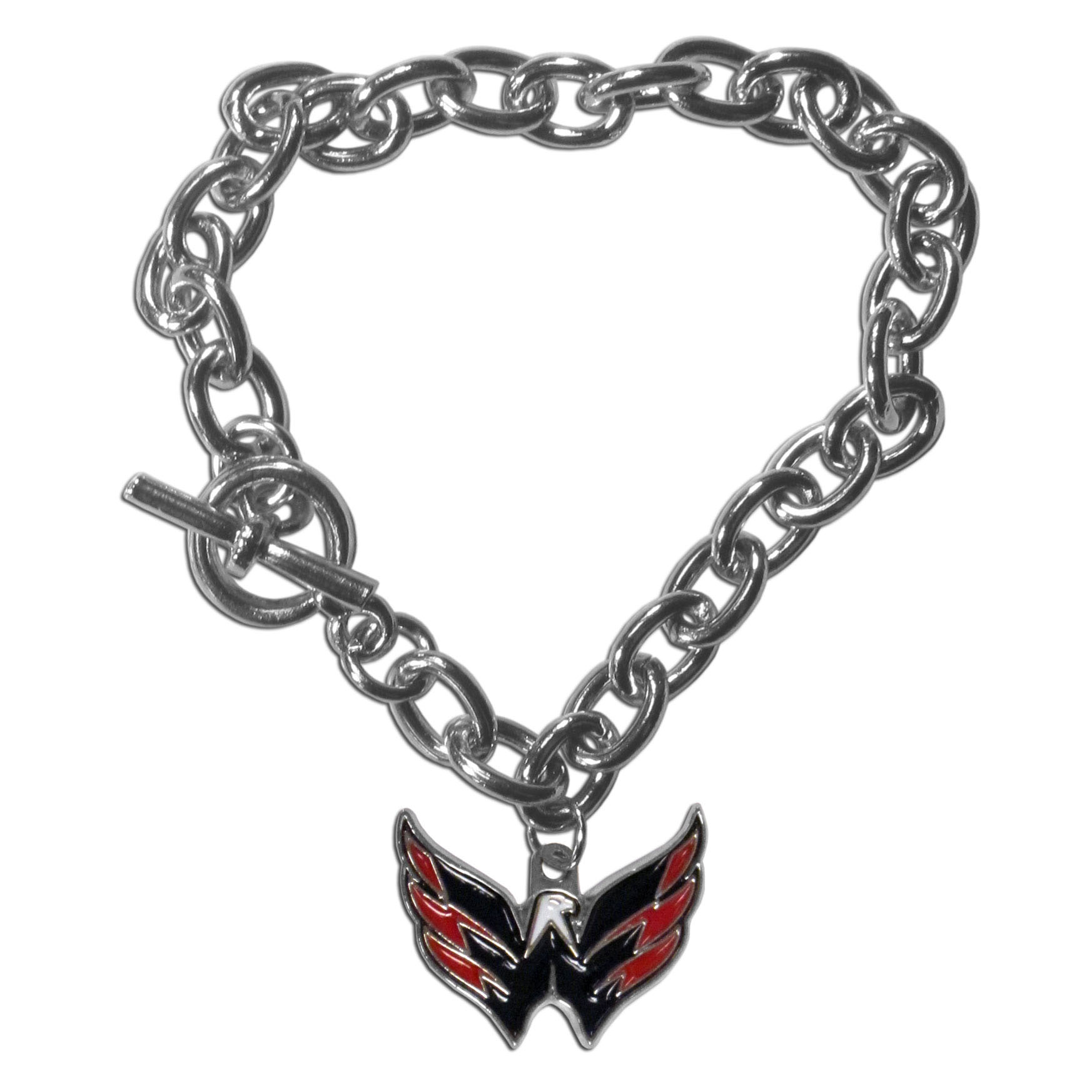 Washington Capitals® Charm Chain Bracelet - Our classic single charm bracelet is a great way to show off your team pride! The 7.5 inch large link chain features a high polish Washington Capitals® charm and features a toggle clasp which makes it super easy to take on and off.