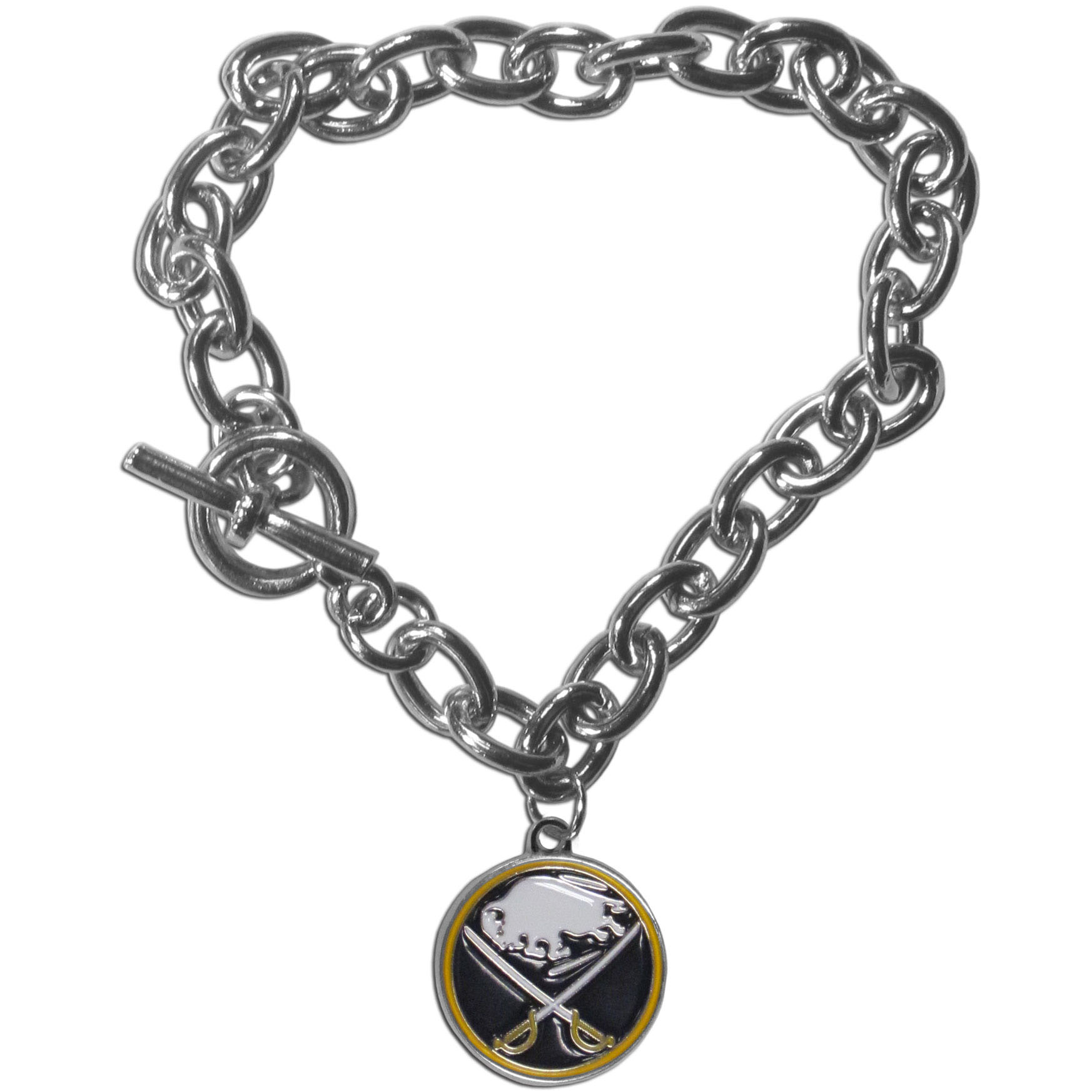 Buffalo Sabres® Charm Chain Bracelet - Our classic single charm bracelet is a great way to show off your team pride! The 7.5 inch large link chain features a high polish Buffalo Sabres® charm and features a toggle clasp which makes it super easy to take on and off.