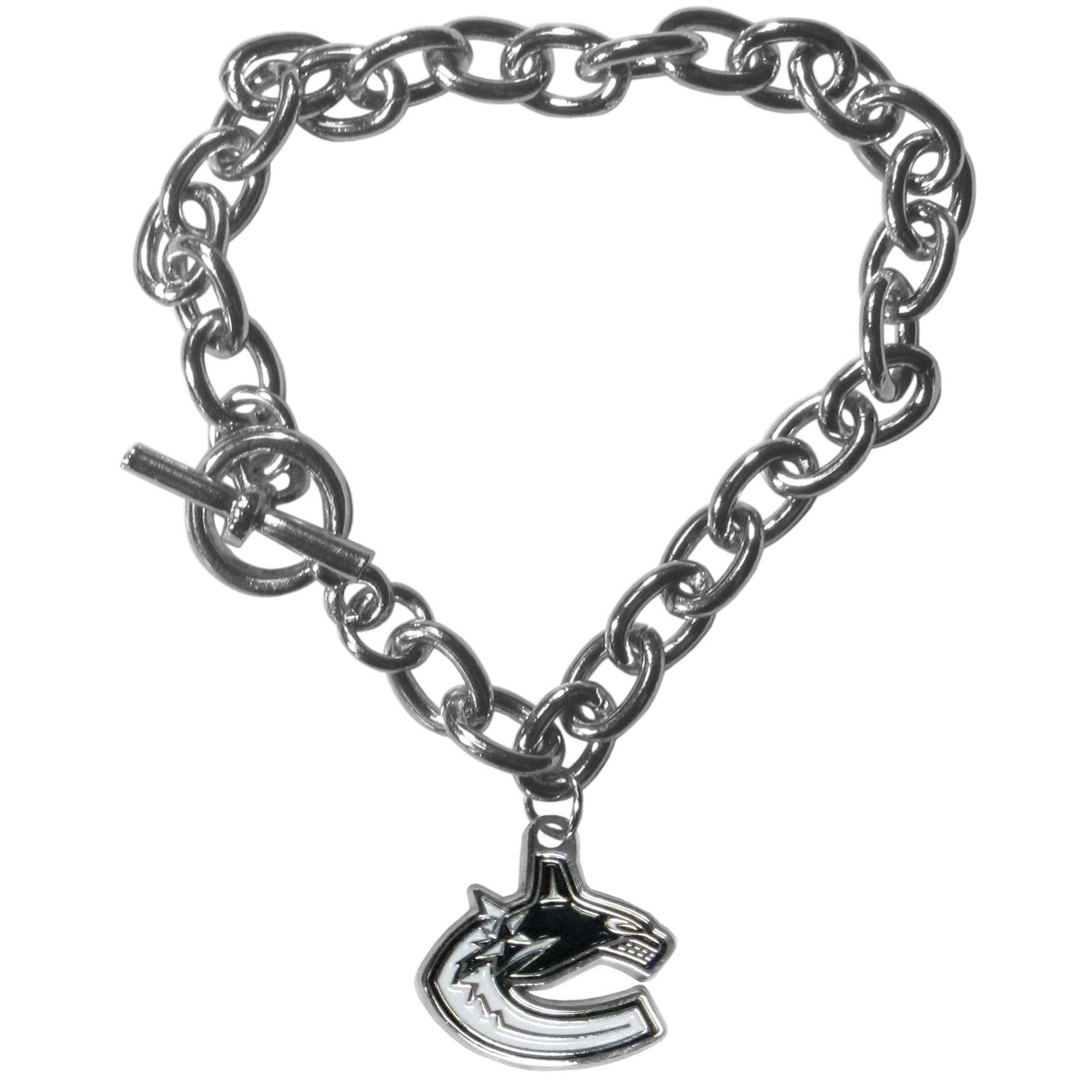 Vancouver Canucks® Charm Chain Bracelet - Our classic single charm bracelet is a great way to show off your team pride! The 7.5 inch large link chain features a high polish Vancouver Canucks® charm and features a toggle clasp which makes it super easy to take on and off.