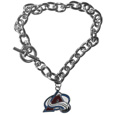 Colorado Avalanche Charm Chain Bracelet - Our classic single charm bracelet is a great way to show off your Colorado Avalanche team pride! The 7.5 inch large link chain features a high polish Colorado Avalanche charm and features a toggle clasp which makes it super easy to take on and off.  Thank you for visiting CrazedOutSports