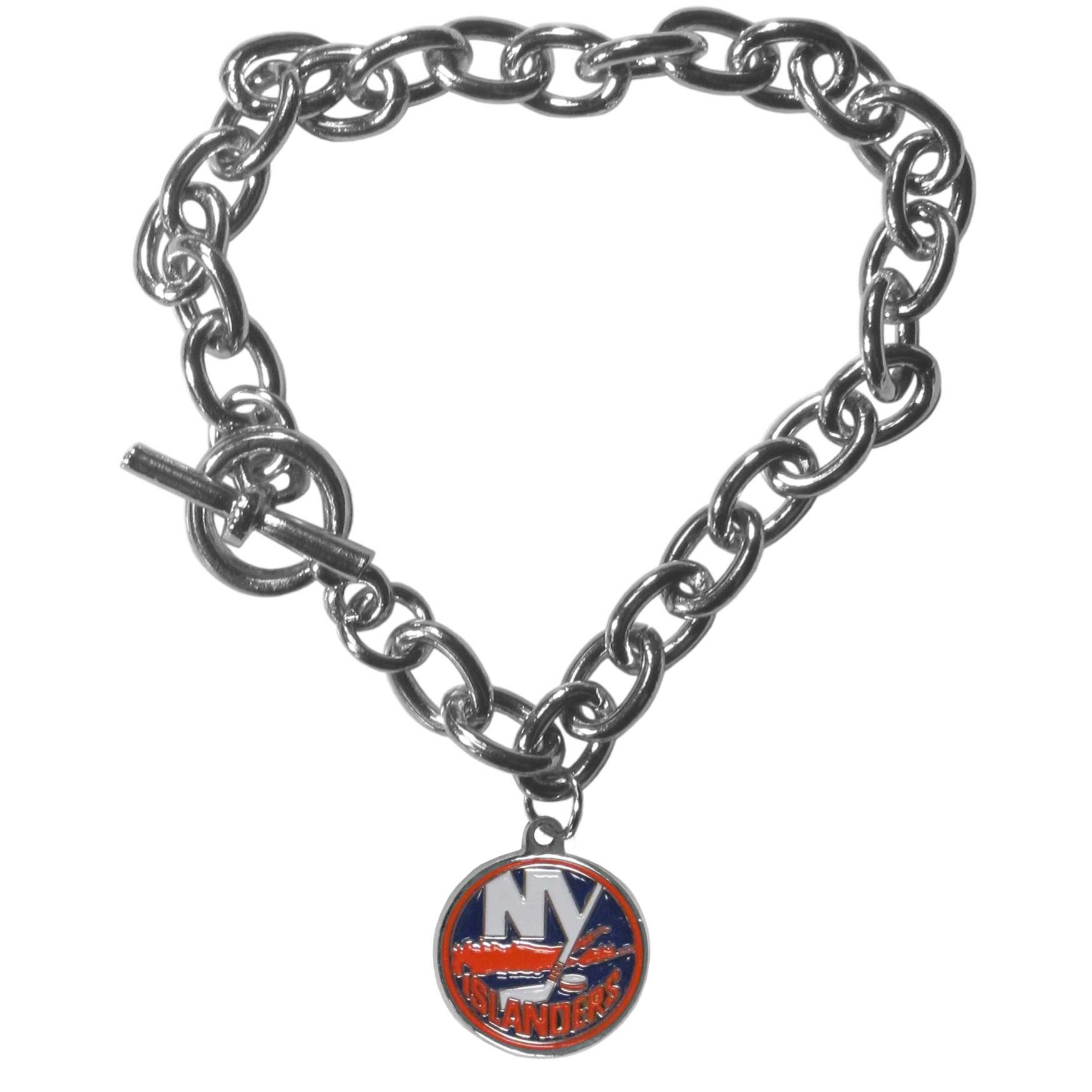 New York Islanders® Charm Chain Bracelet - Our classic single charm bracelet is a great way to show off your team pride! The 7.5 inch large link chain features a high polish New York Islanders® charm and features a toggle clasp which makes it super easy to take on and off.