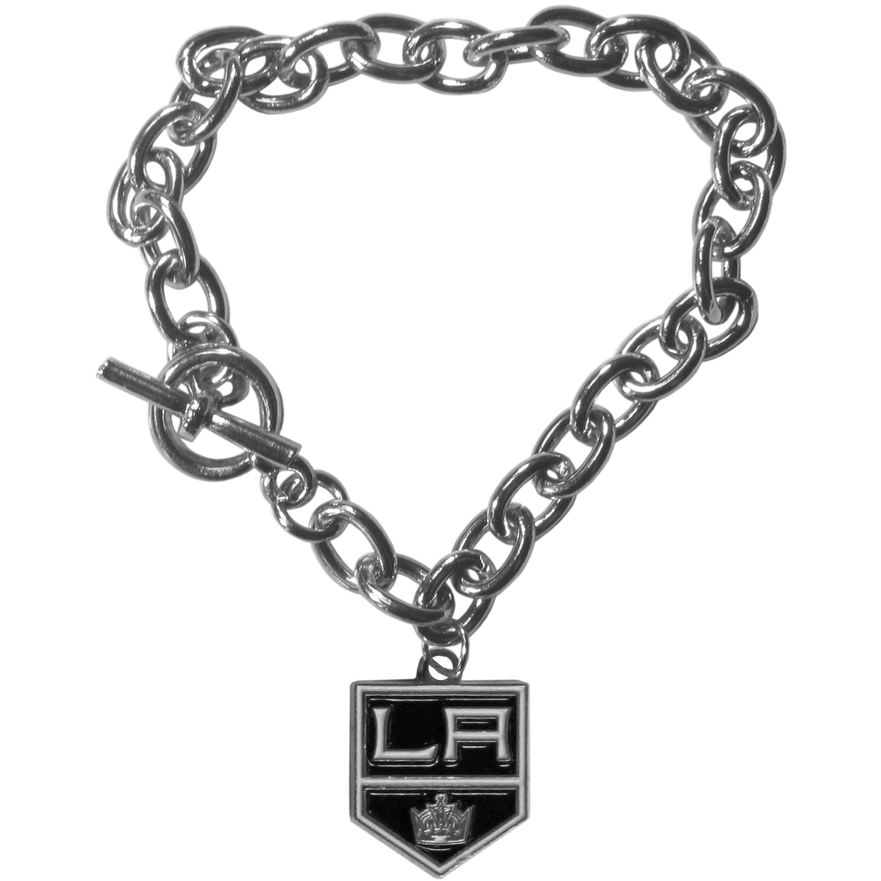 Los Angeles Kings® Charm Chain Bracelet - Our classic single charm bracelet is a great way to show off your team pride! The 7.5 inch large link chain features a high polish Los Angeles Kings® charm and features a toggle clasp which makes it super easy to take on and off.