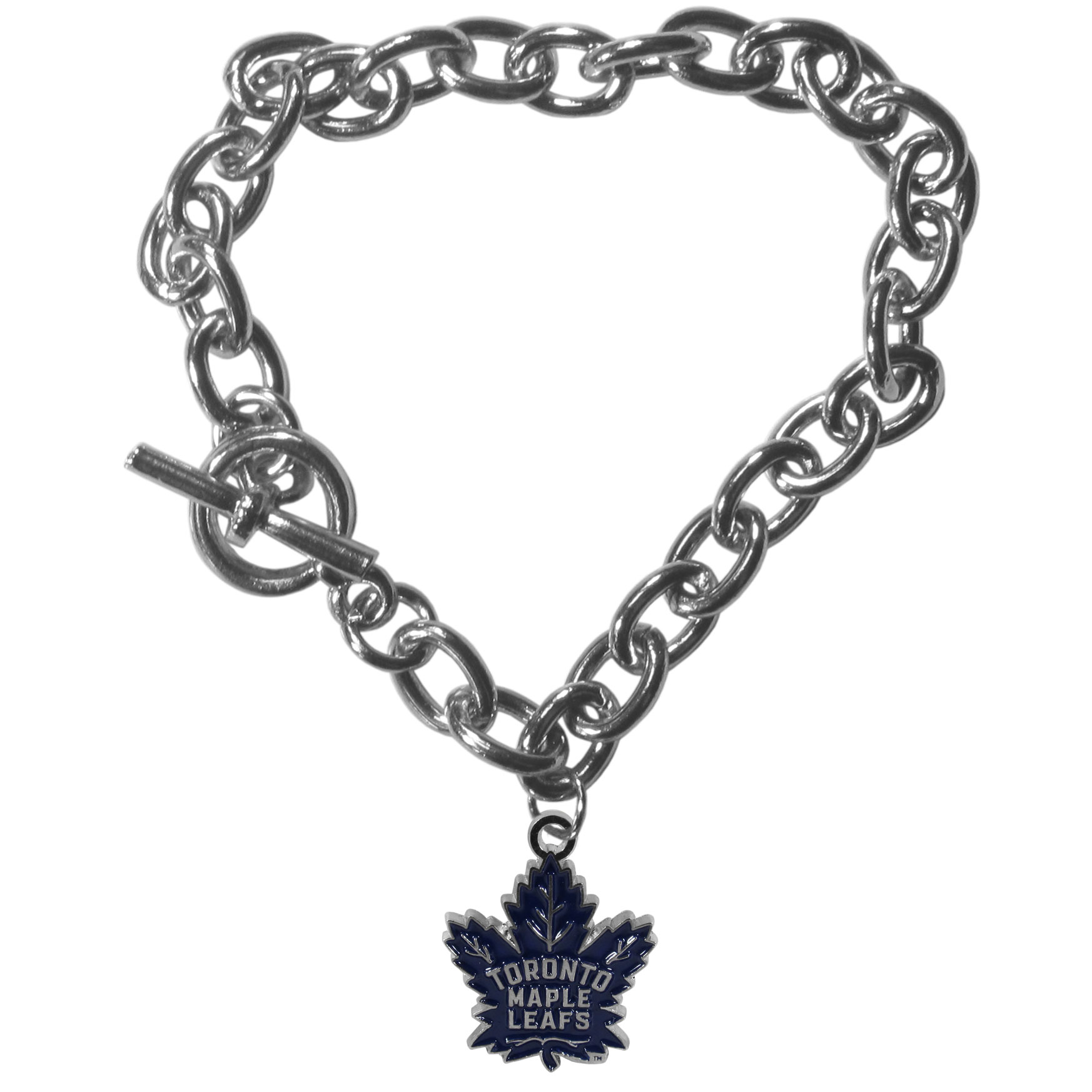 Toronto Maple Leafs® Charm Chain Bracelet - Our classic single charm bracelet is a great way to show off your team pride! The 7.5 inch large link chain features a high polish Toronto Maple Leafs® charm and features a toggle clasp which makes it super easy to take on and off.