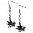 San Jose Sharks Crystal Dangle Earrings - NHL San Jose Sharks Crystal Dangle Earrings earrings are the perfect accessory for your game day outfit! The San Jose Sharks Crystal Dangle Earrings are approximately 1.5 inches long and feature an iridescent crystal bead and nickel free chrome San Jose Sharks charm on nickel free, hypoallergenic fishhook posts.